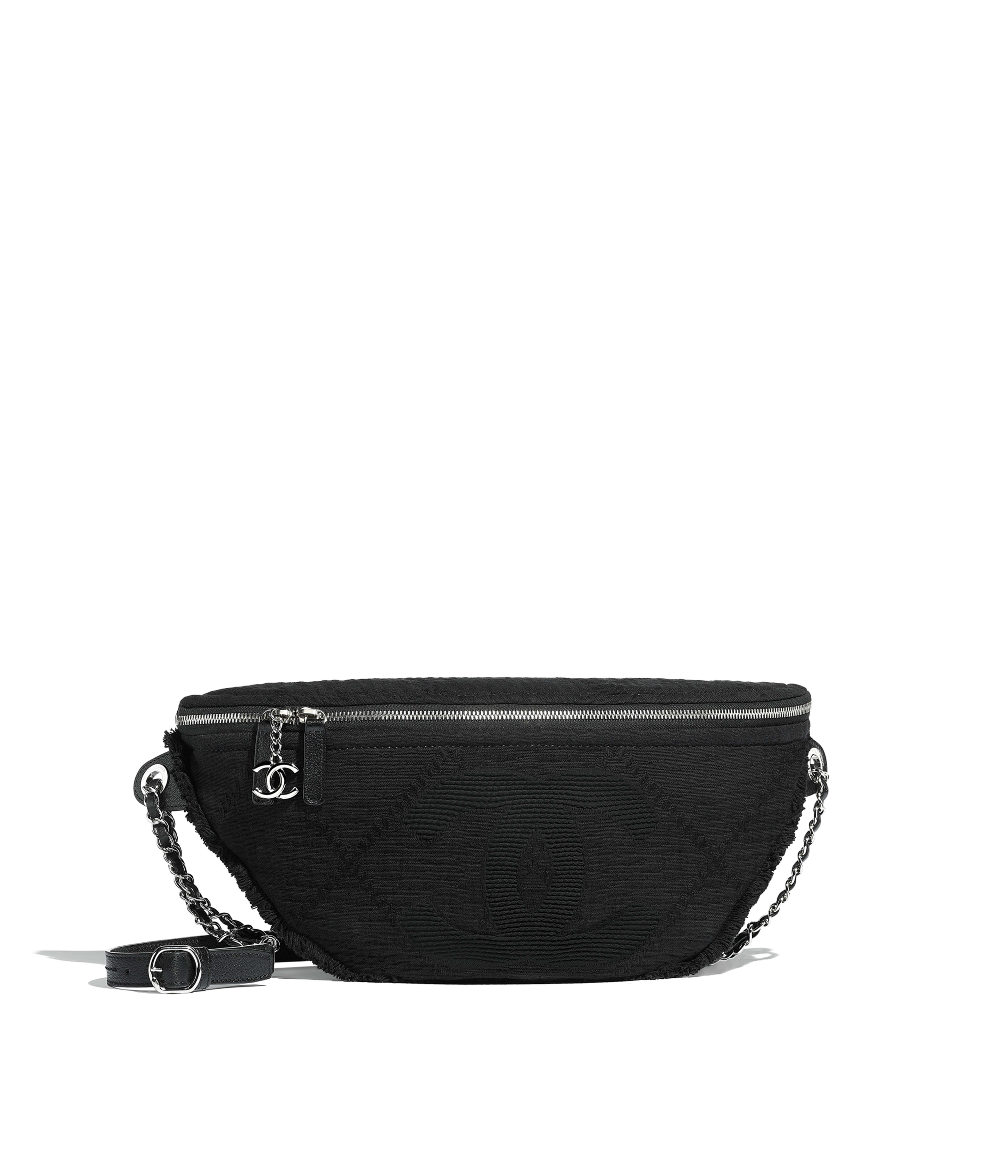 bf238c9ad925 Waist Bag Mixed Fibers, Goatskin, Silver-Tone Metal, Black Ref.  AS0315B0010794305