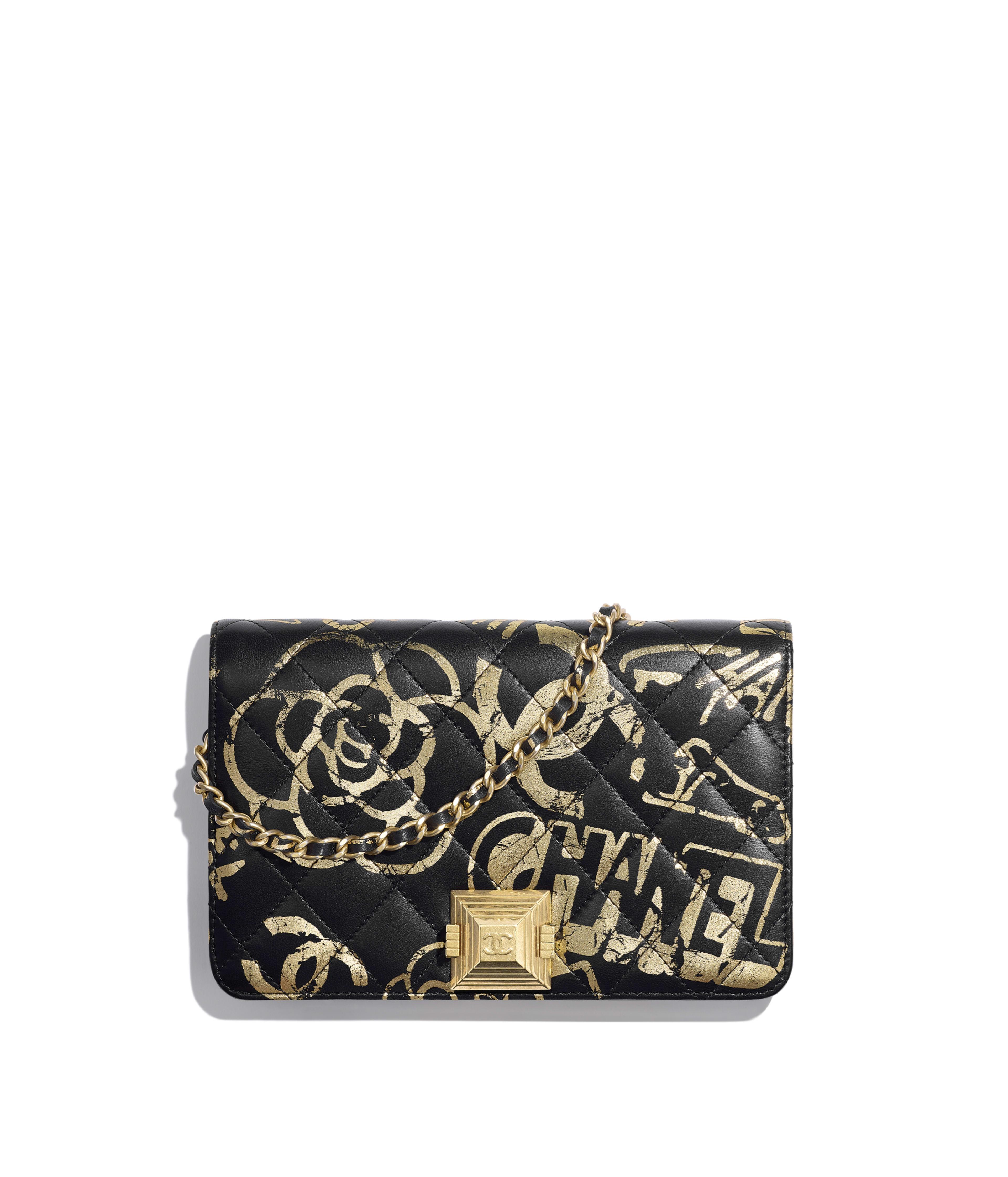 a6a4da855d Wallet on Chain Printed Calfskin & Gold-Tone Metal, Black & Gold Ref.  AP0388B00912N0784