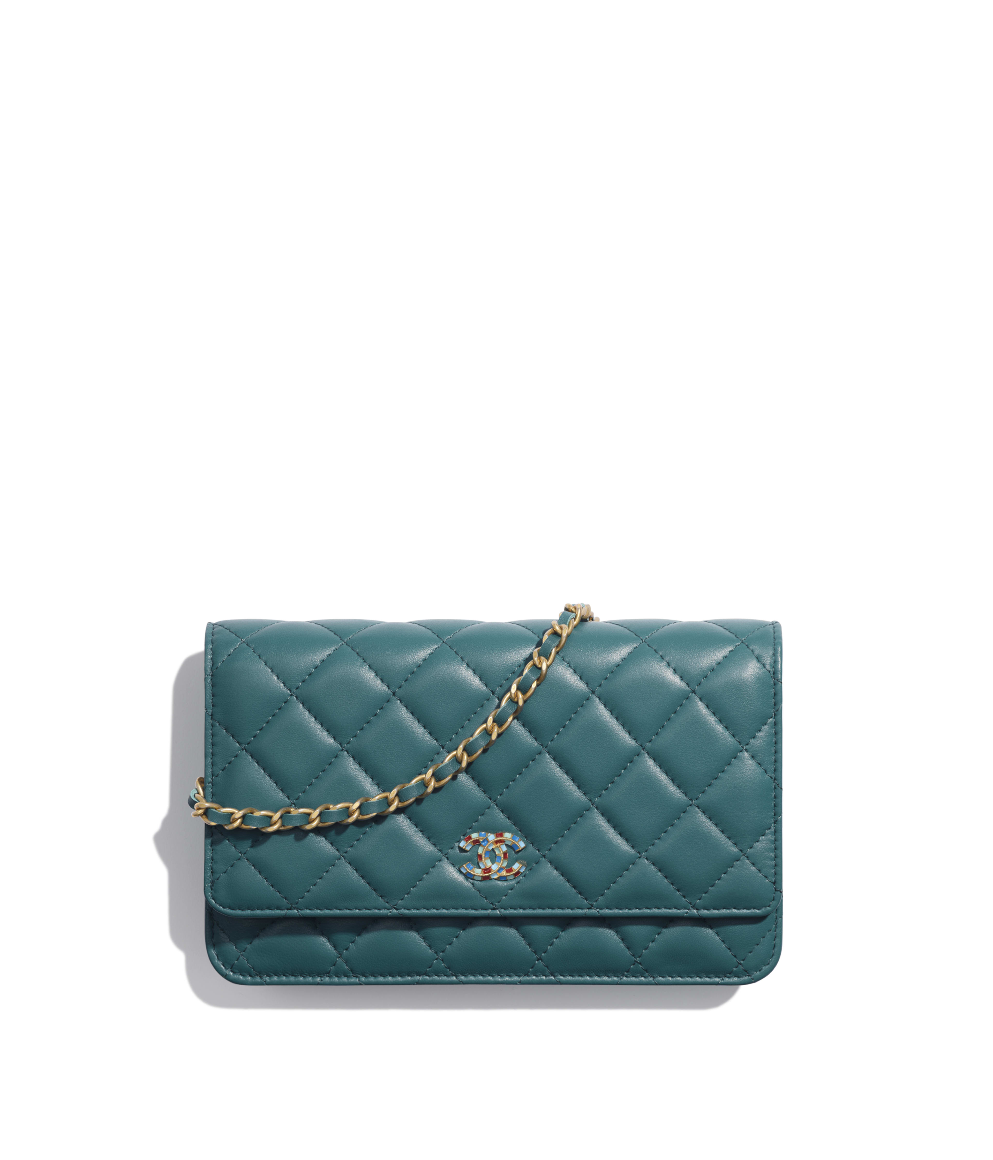 0424bfcb84c3 Wallet on Chain Lambskin & Gold-Tone Metal, Dark Turquoise Ref.  AP0529B00866N4712