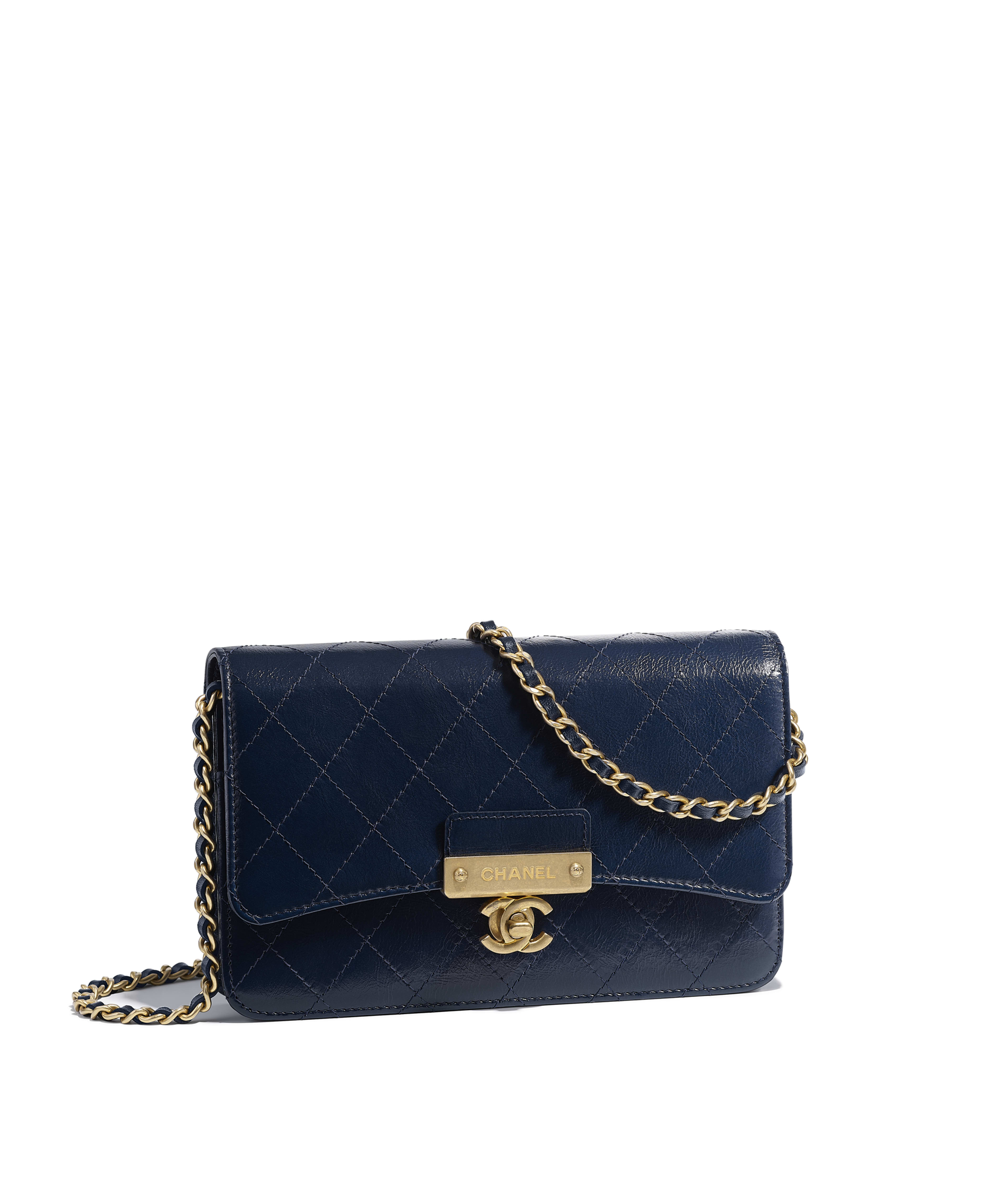 Wallet On Chain Goatskin Gold Tone Metal Navy Blue Ref A81419y333410b845