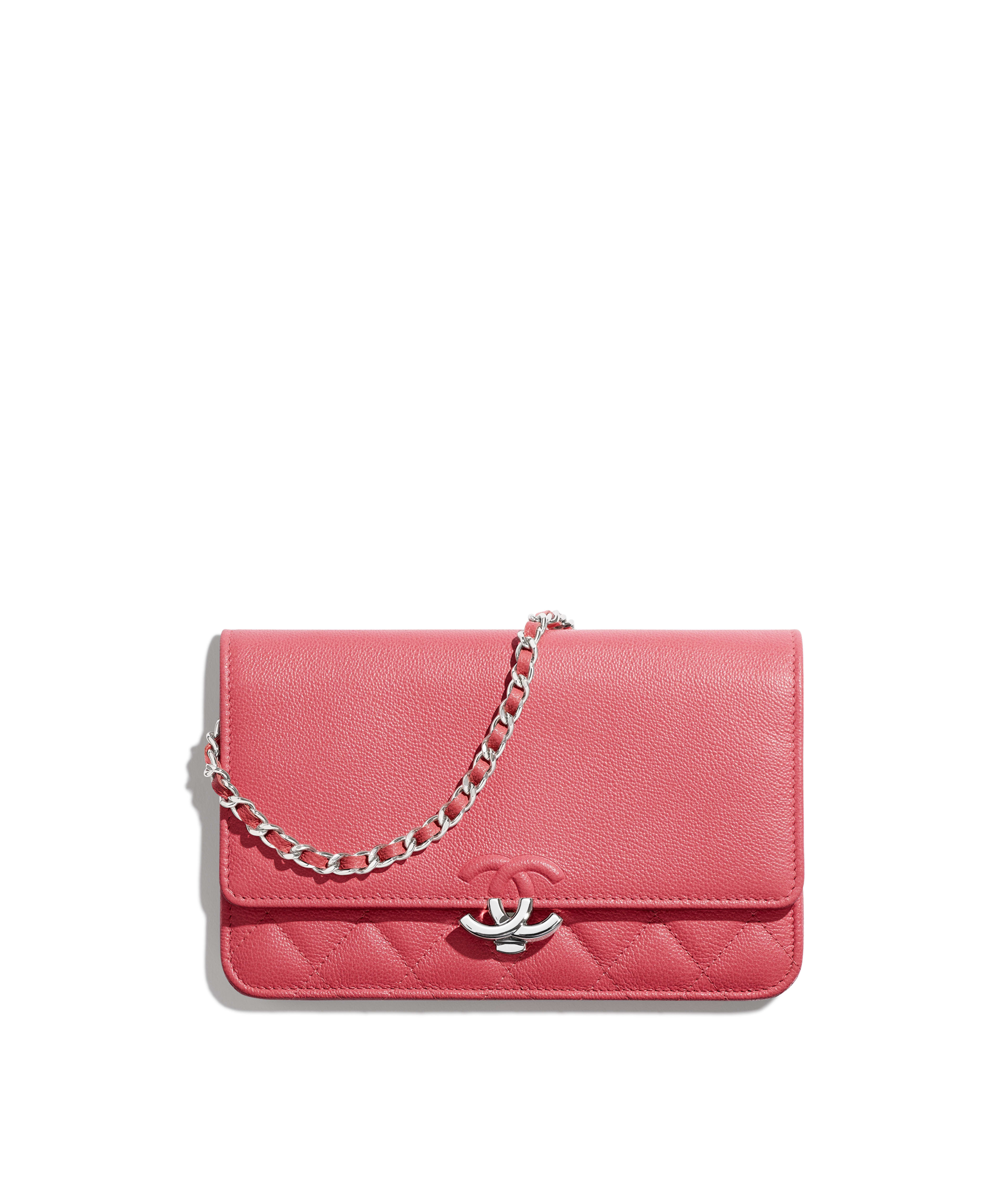 Wallet on Chain Grained Calfskin   Silver-Tone Metal, Pink Ref.  A84428B00035N0412 98f8327ac4