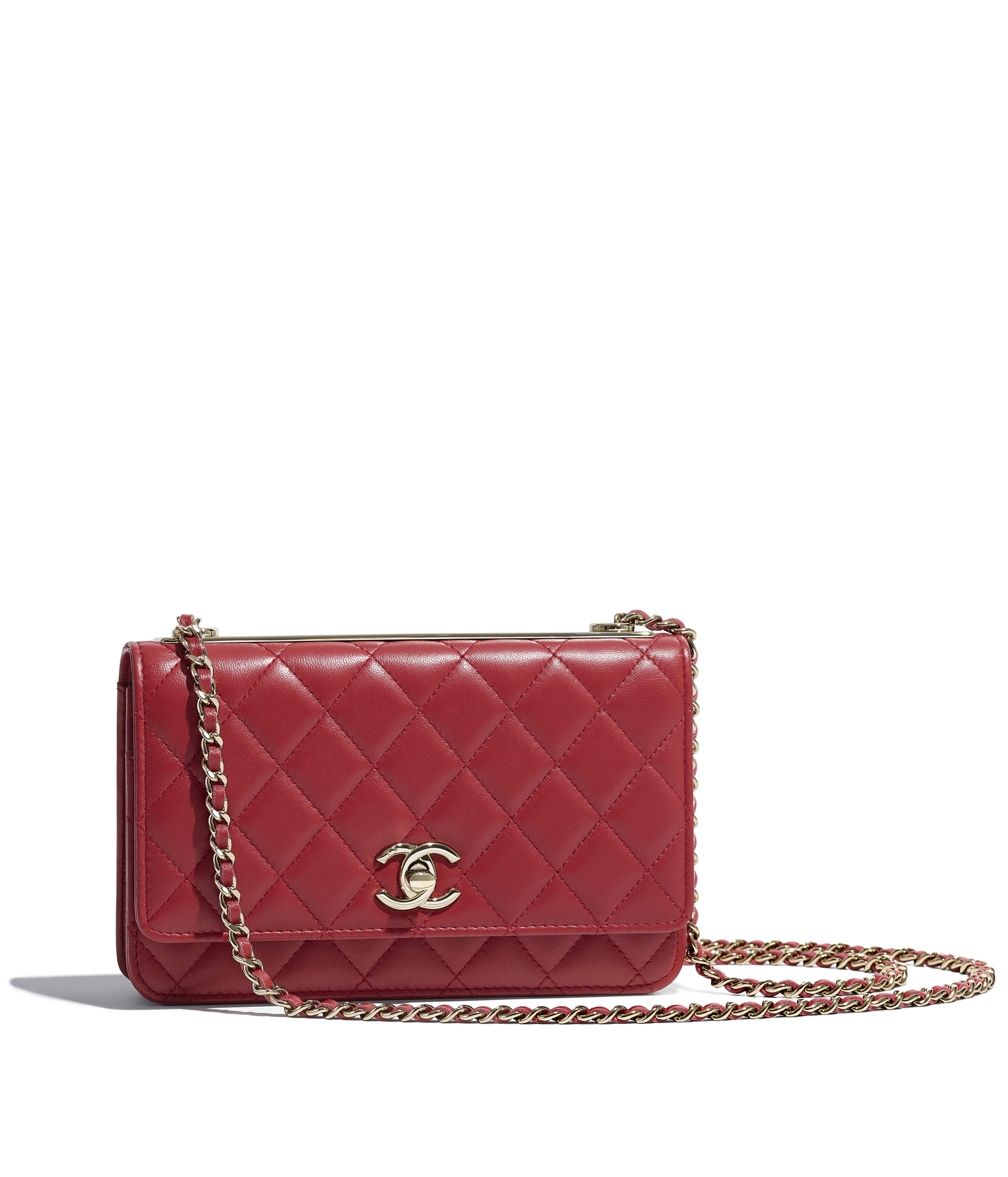 6922734e210 Wallet on Chain Lambskin   Gold-Tone Metal, Red Ref. A80982Y040595B455