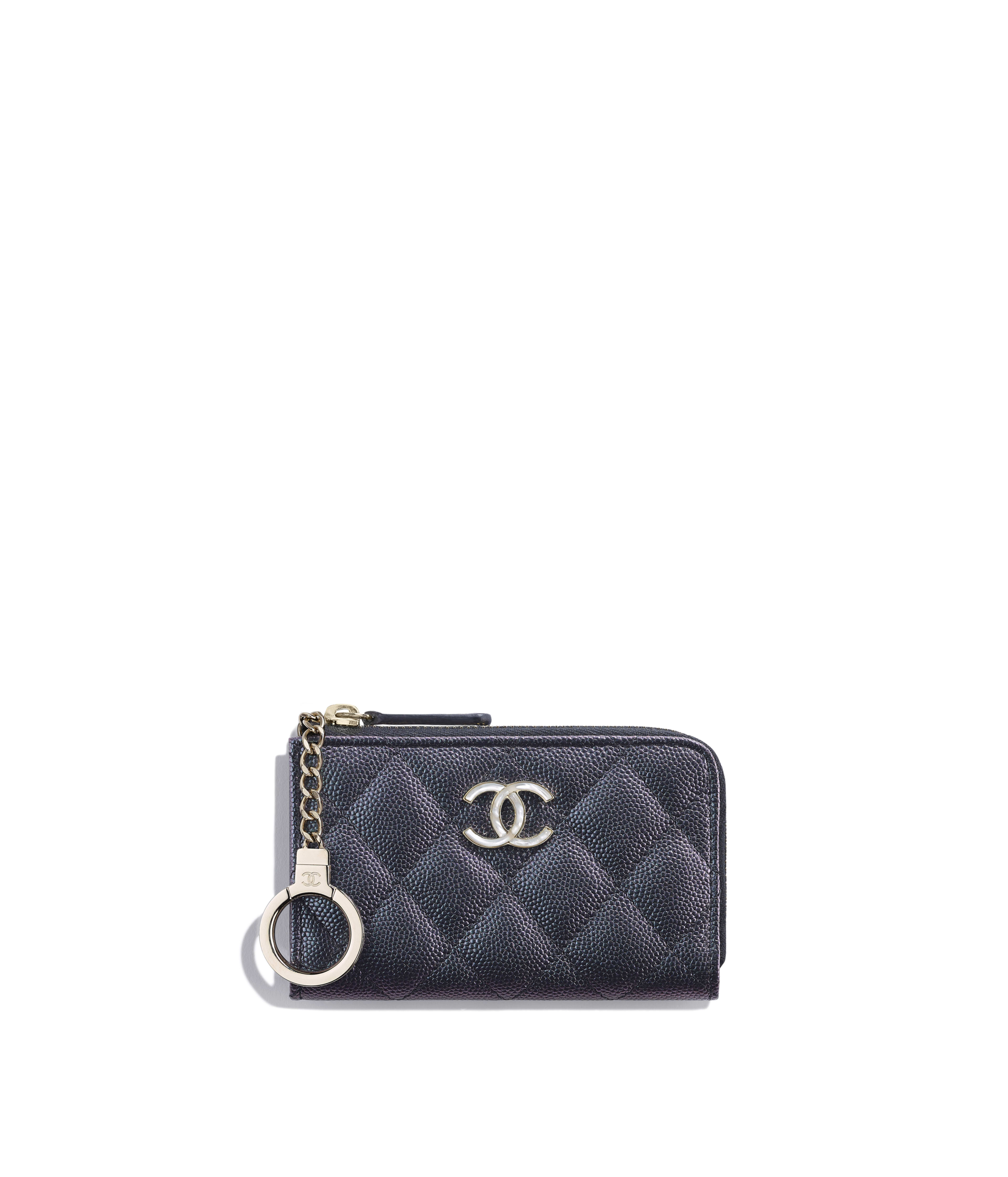 c9b17031f859 Zipped Key Holder Iridescent Grained Lambskin & Gold-Tone Metal, Black Ref.  AP0307B0048394305
