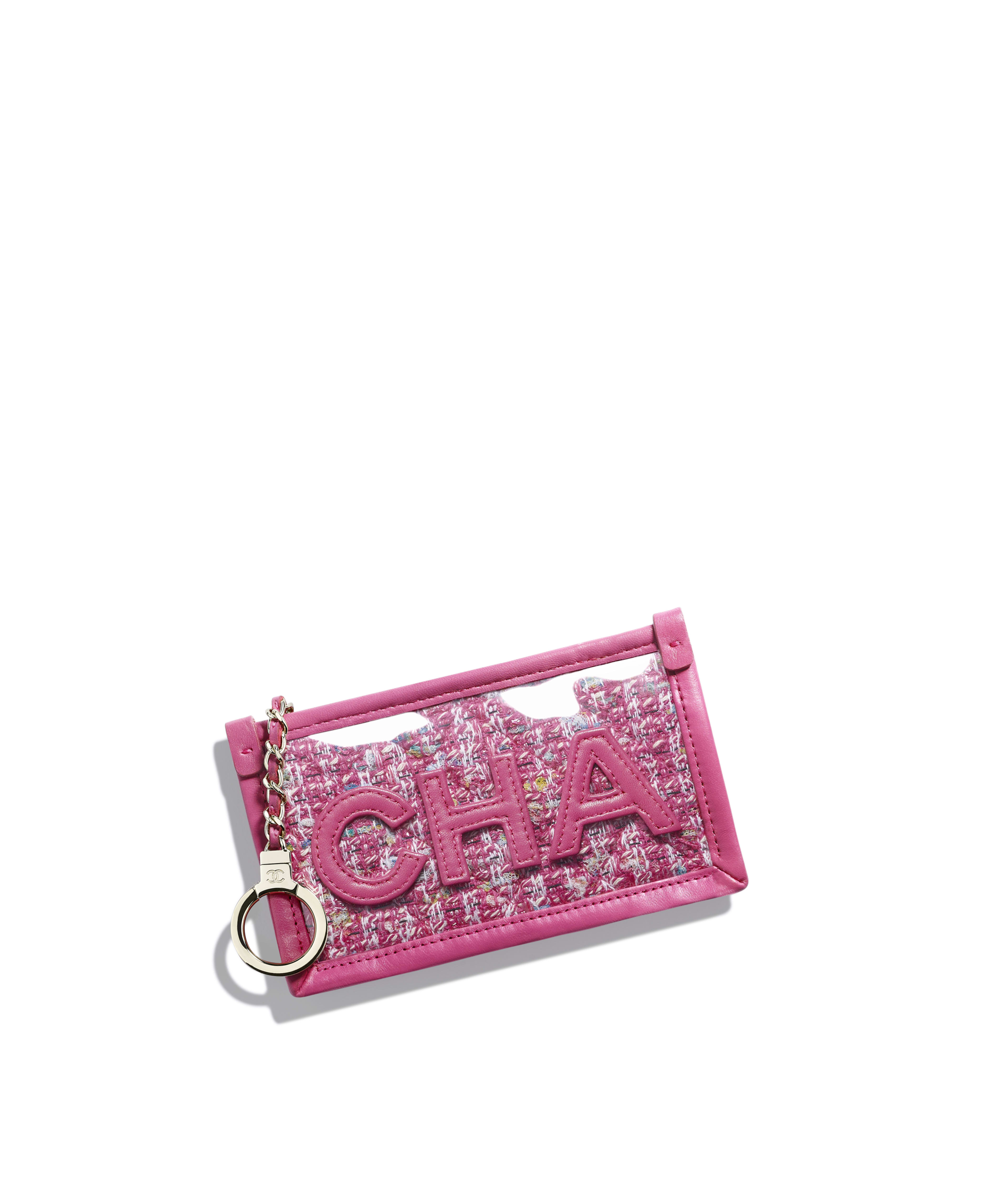93d0aa77014f Zipped Key Holder Tweed, PVC, Lambskin & Gold-Tone Metal, Pink, Blue, White  & Ochre Ref. AP0254B00478N4449