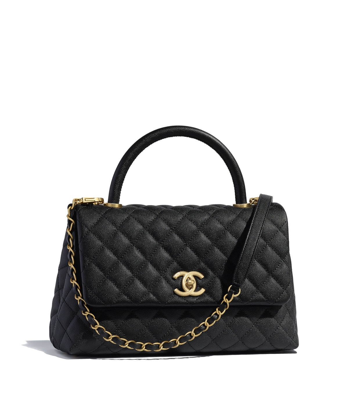 Grained Calfskin Gold Tone Metal Black Flap Bag With Top