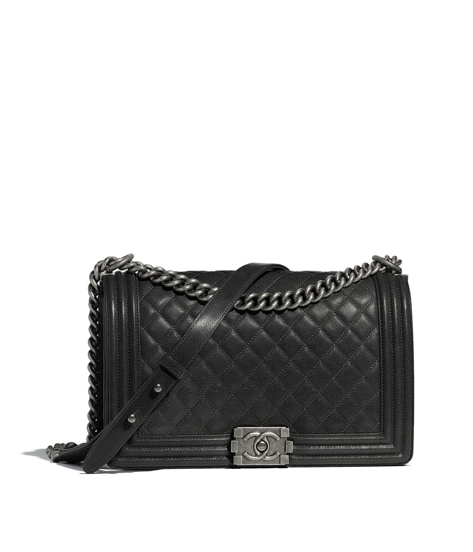 Grained Calfskin Ruthenium Finish Metal Charcoal Large Boy Chanel. Chanel  Le Boy Bag Handbags Leather Black Ref 58777 76883611d2