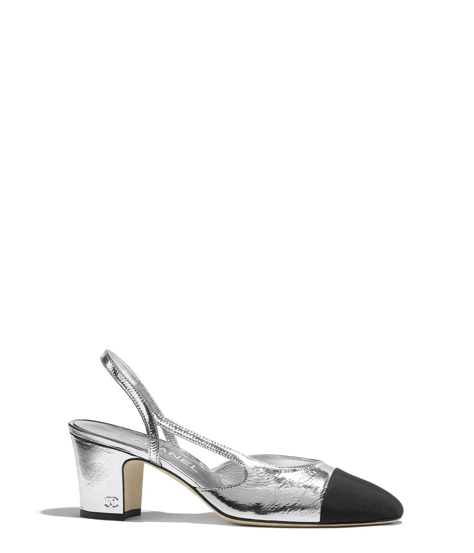 Metallic Goatskin   Grosgrain Silver   Black Slingbacks  ab65a8c4f818