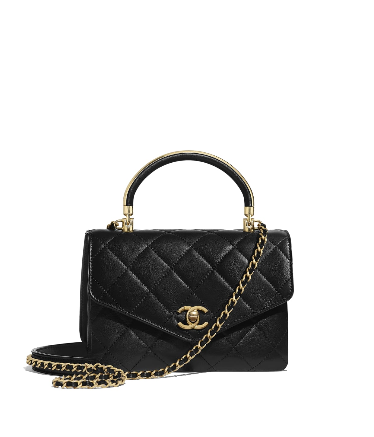 Calfskin Amp Gold Tone Metal Black Small Flap Bag With Top