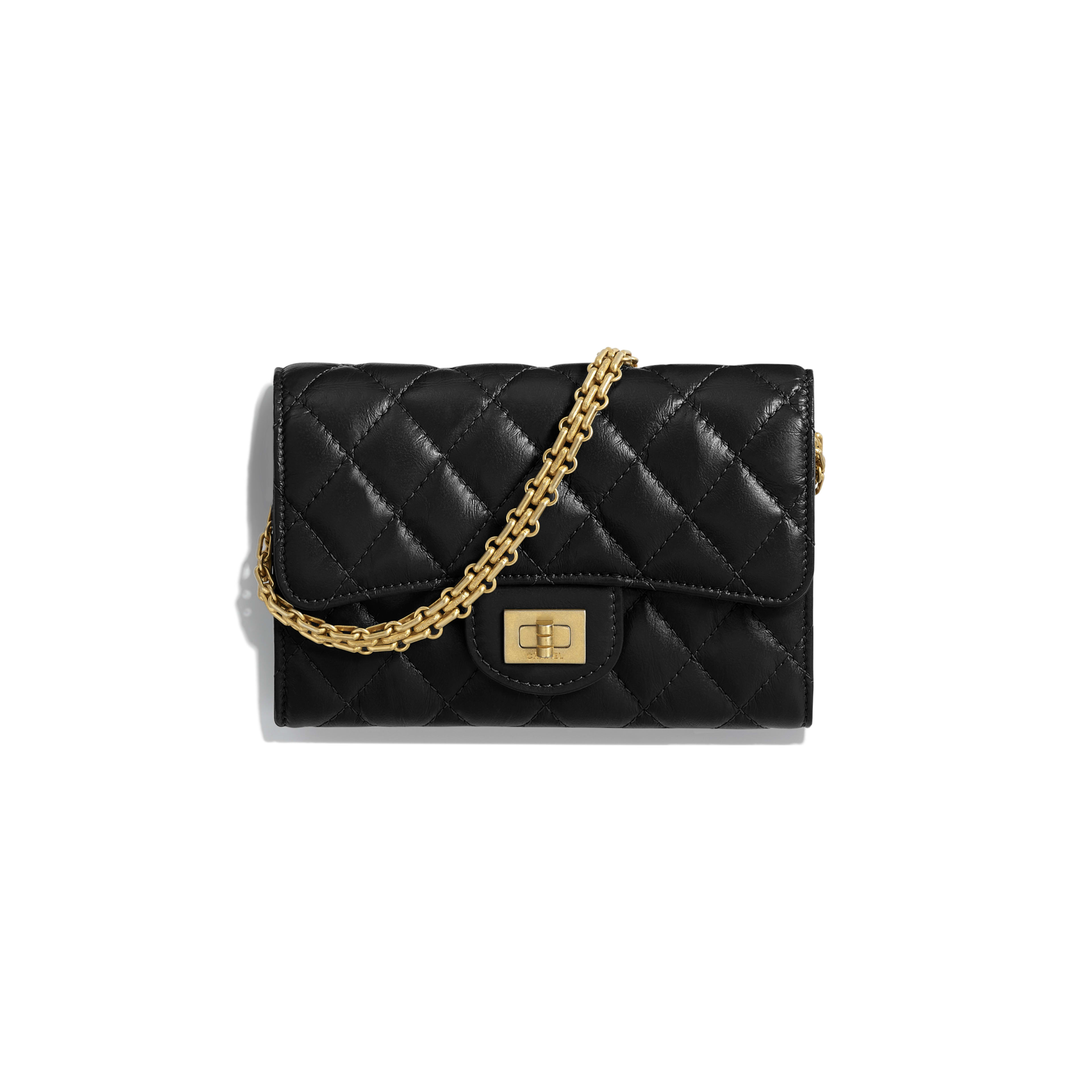 2.55 Clutch with Chain - Black - Aged Calfskin & Gold-Tone Metal - Default view - see full sized version