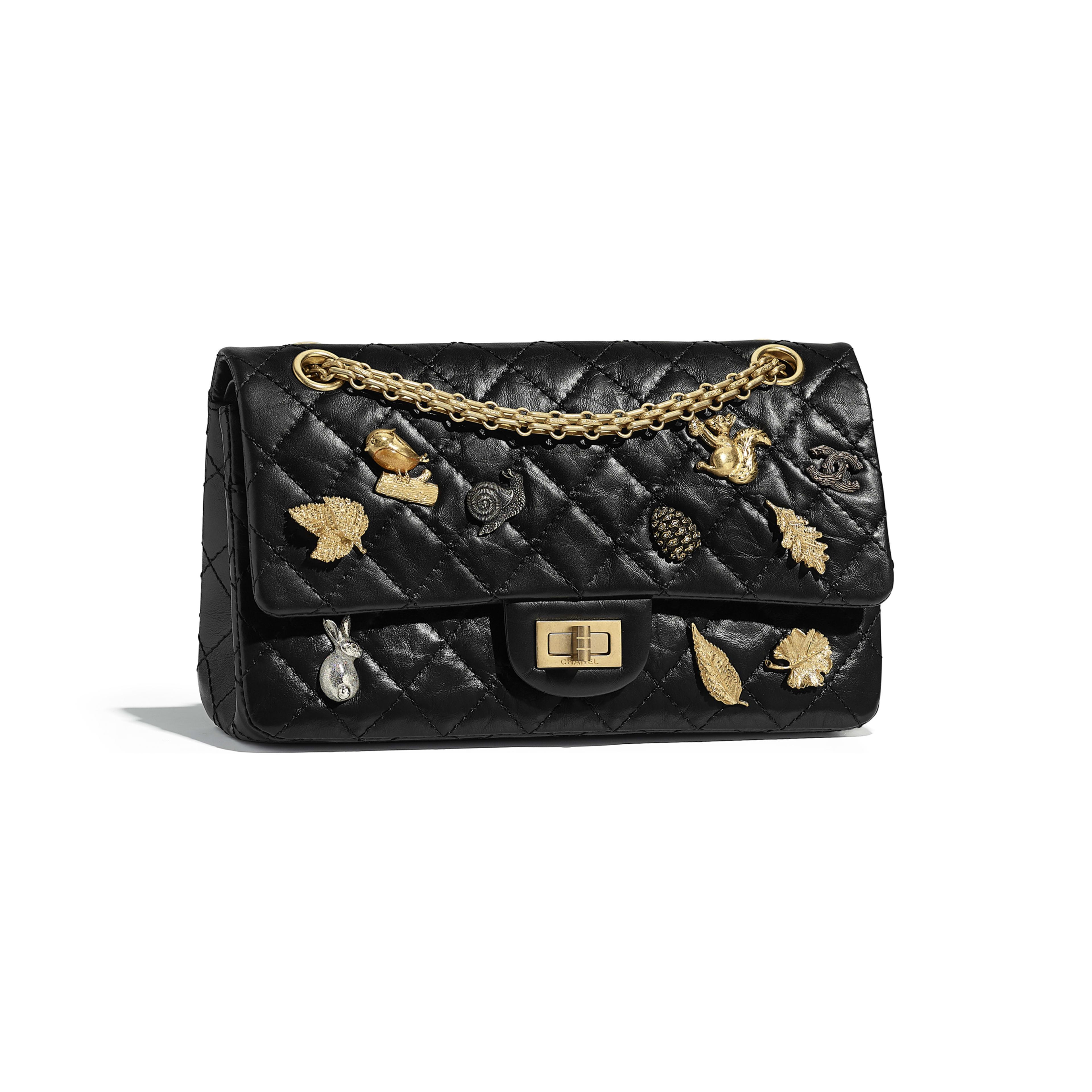 2.55 Handbag - Black - Aged Calfskin, Charms & Gold-Tone Metal - Default view - see full sized version