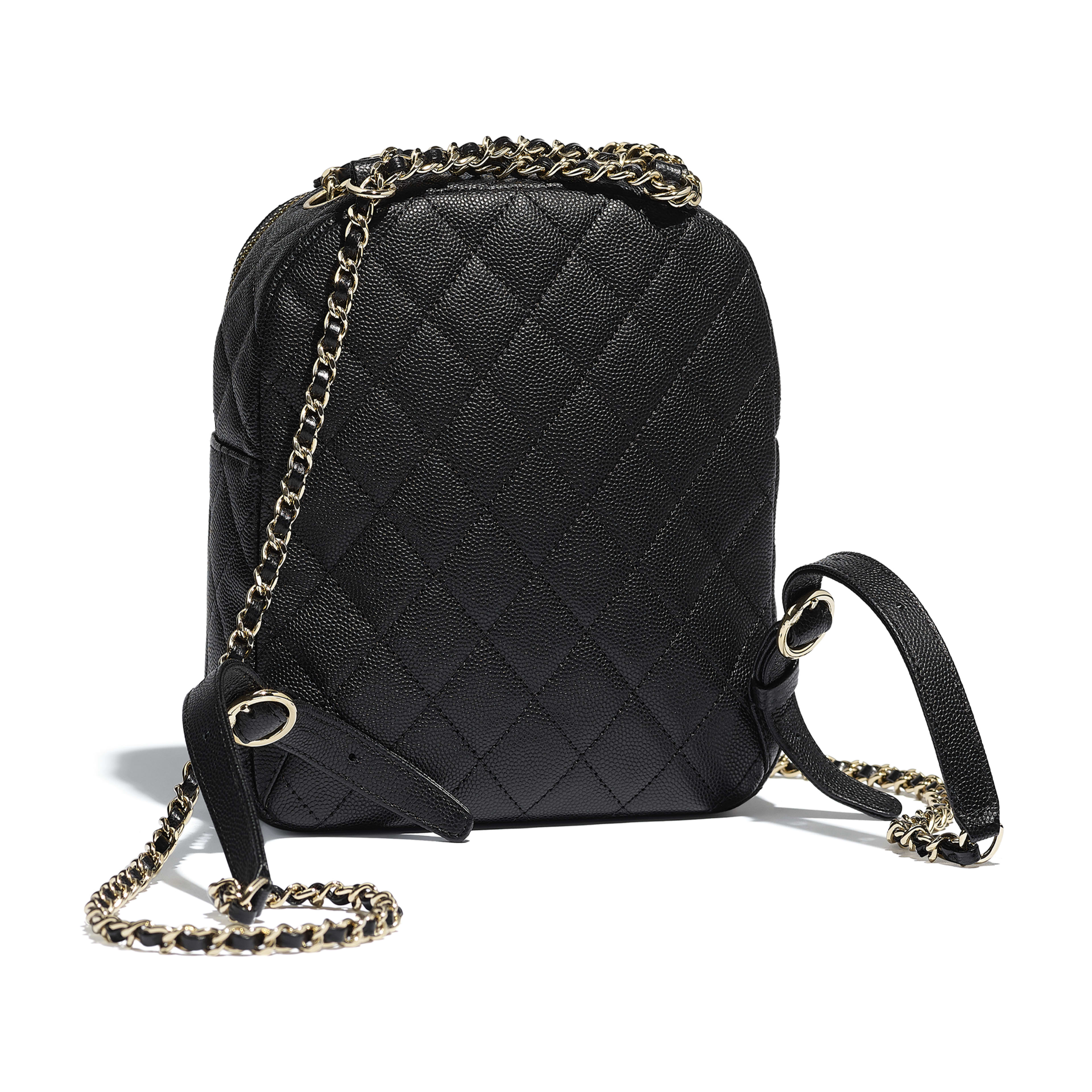 Backpack - Black - Grained Calfskin & Gold-Tone Metal - Alternative view - see full sized version
