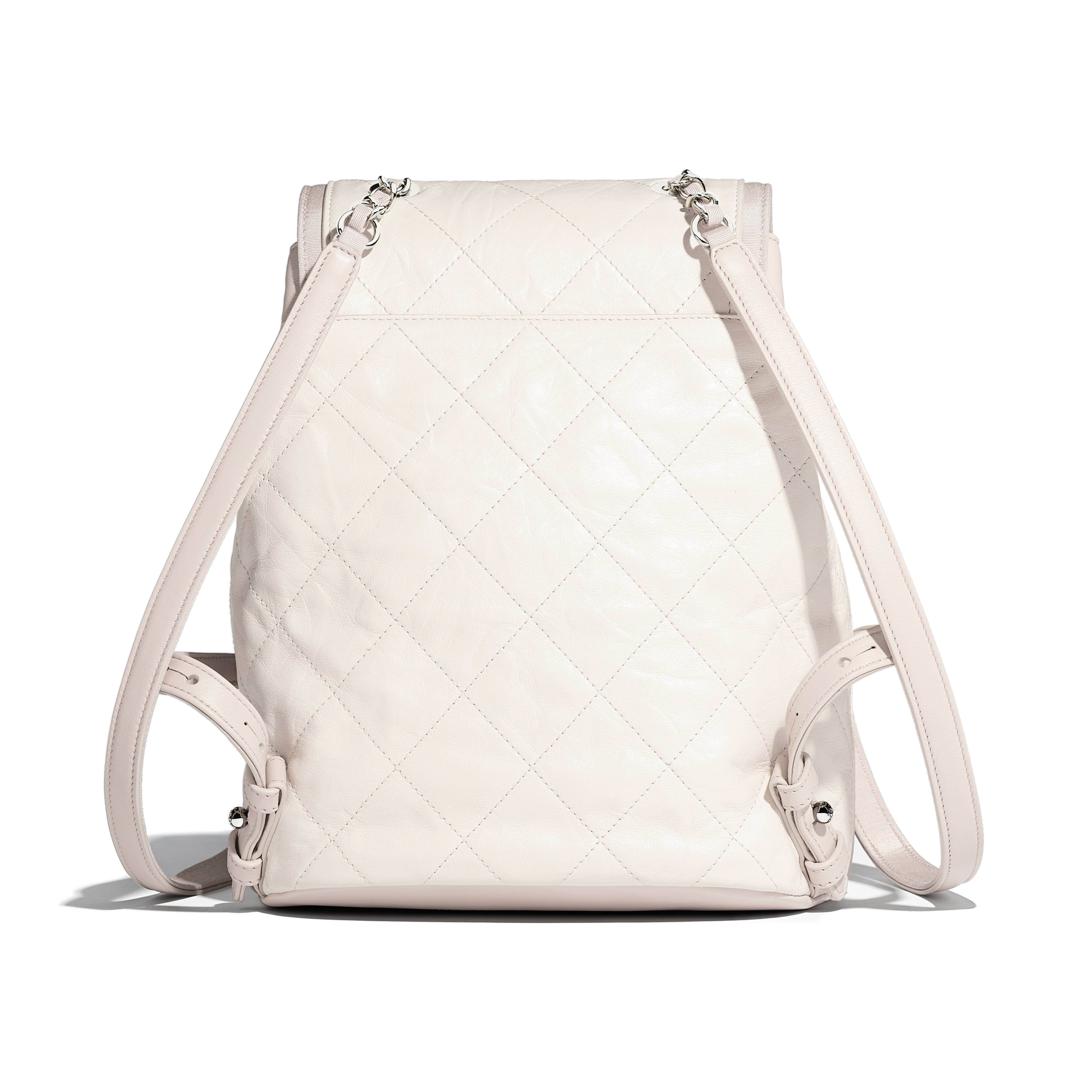 Backpack Grained Crumpled Calfskin & Silver-Tone Metal Ivory & Beige -                                       view 2 - see full sized version