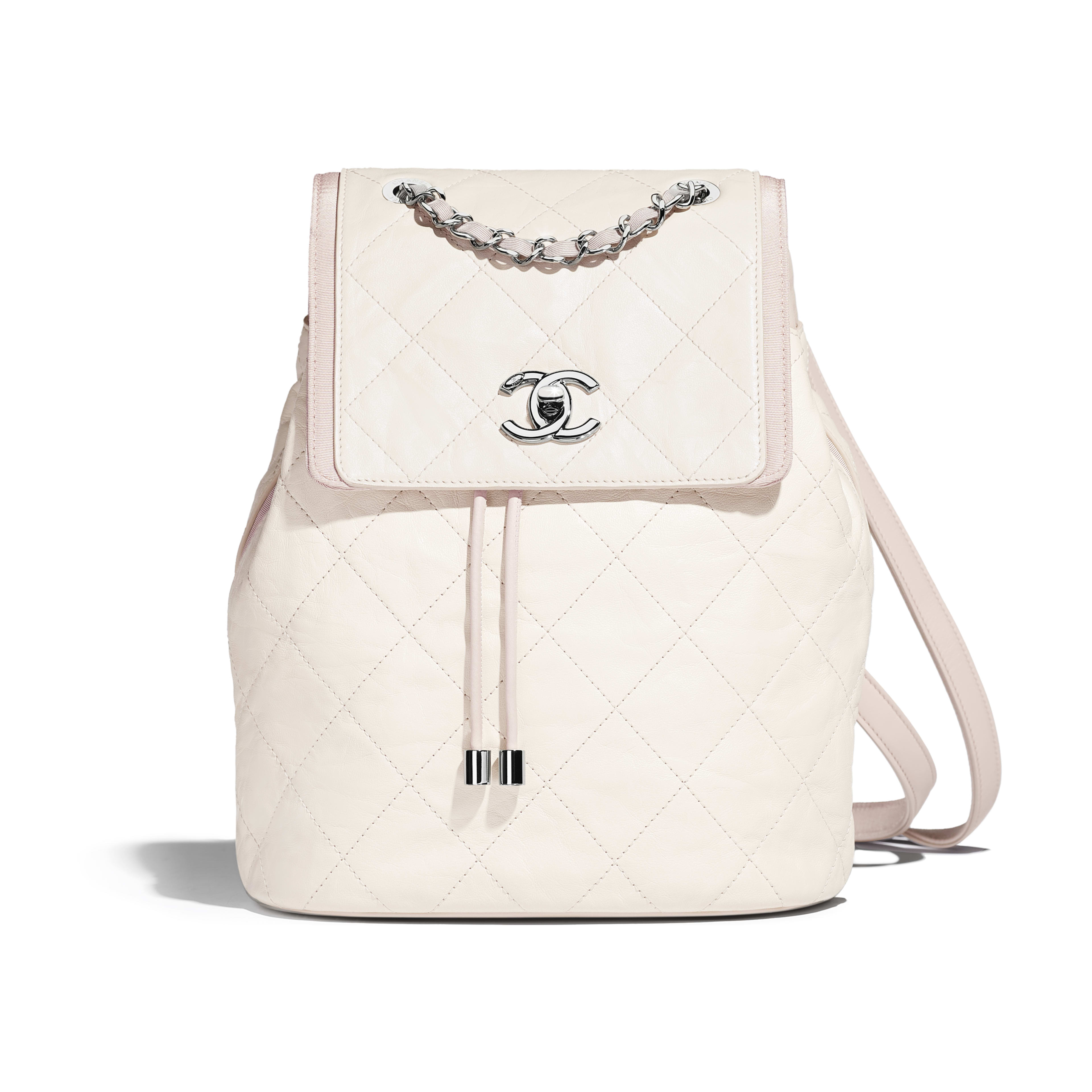 Backpack Grained Crumpled Calfskin & Silver-Tone Metal Ivory & Beige -                                  view 1 - see full sized version