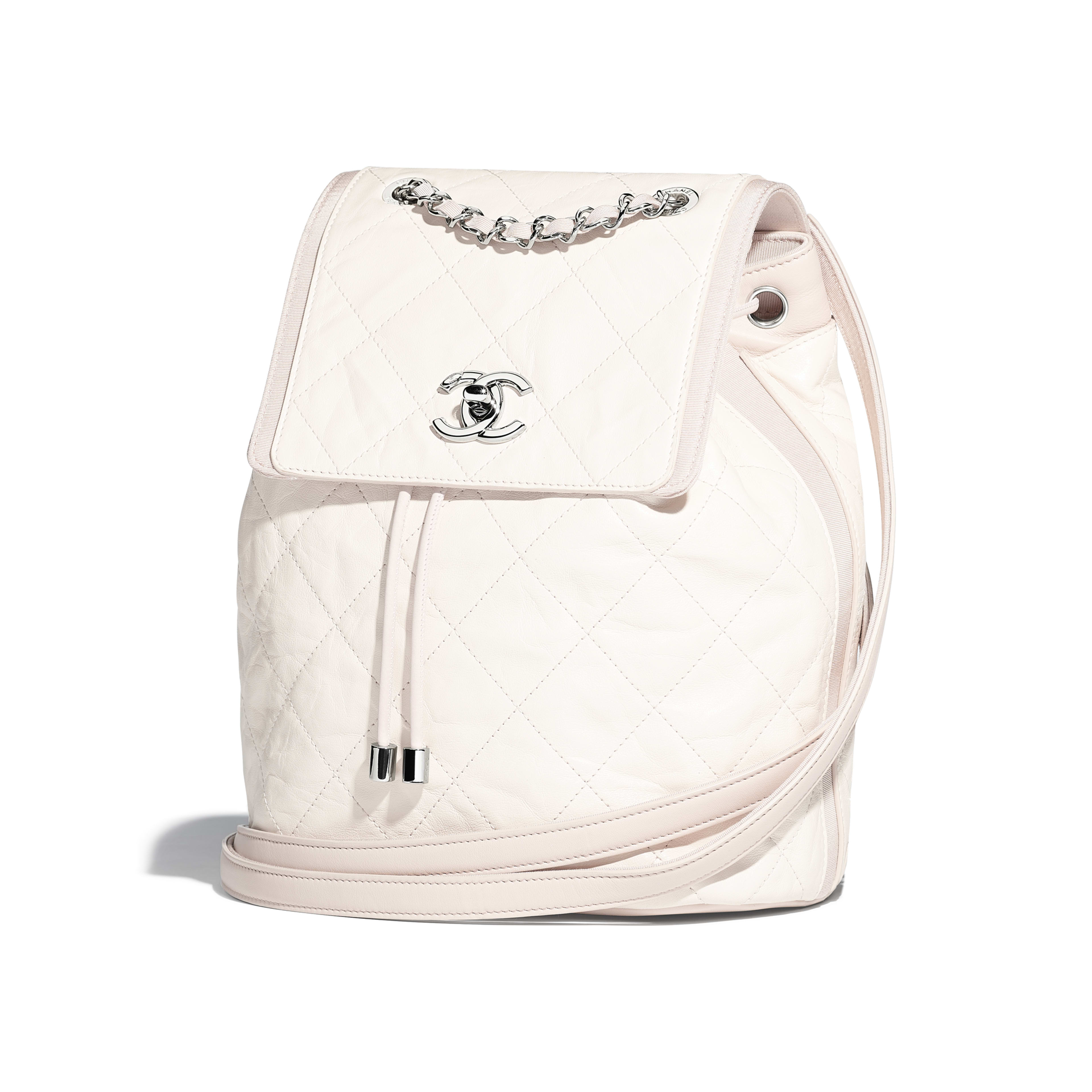 Backpack Grained Crumpled Calfskin & Silver-Tone Metal Ivory & Beige -                                            view 3 - see full sized version