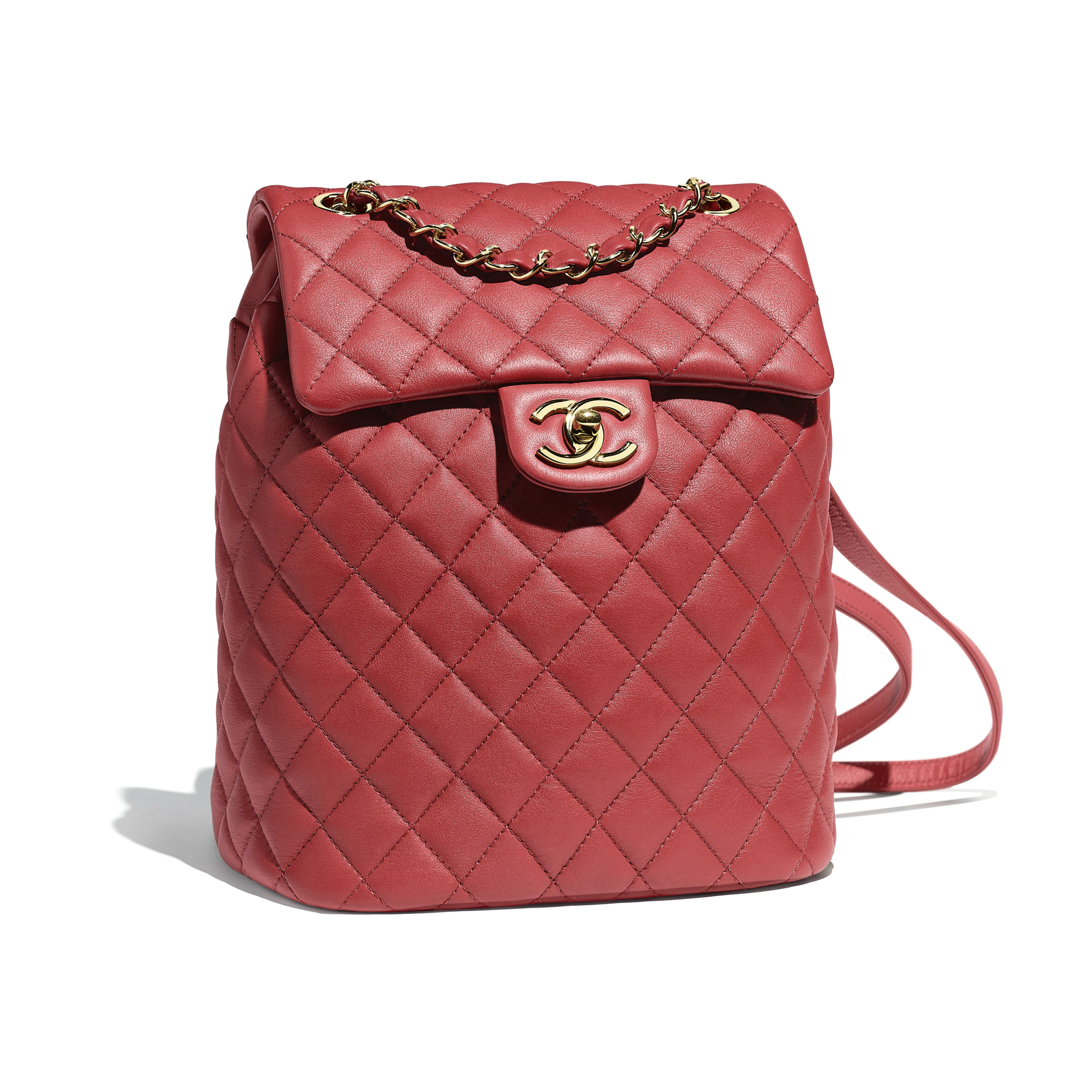 Backpack - Red - Calfskin & Gold-Tone Metal - Default view - see full sized version