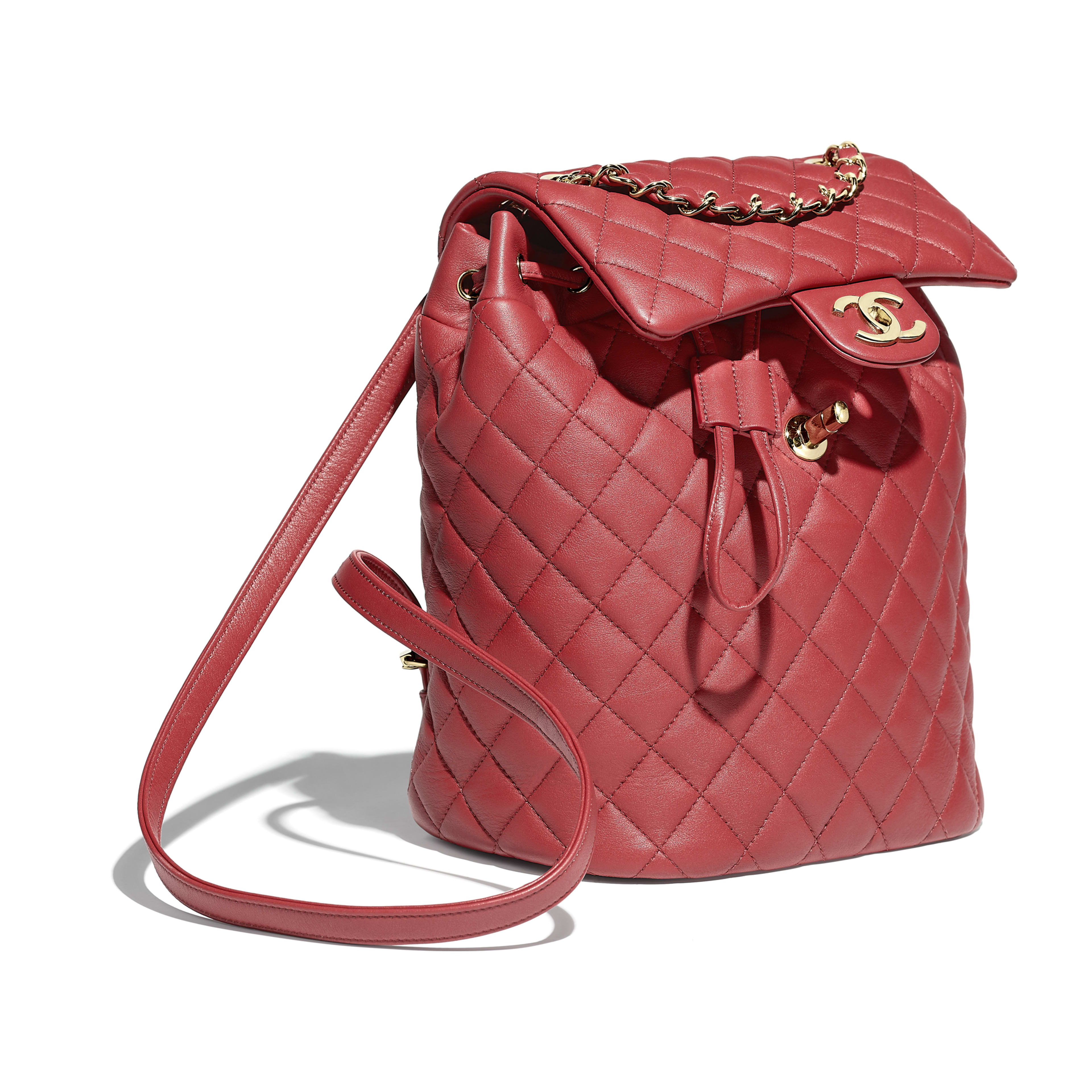 Backpack - Red - Calfskin & Gold-Tone Metal - Other view - see full sized version