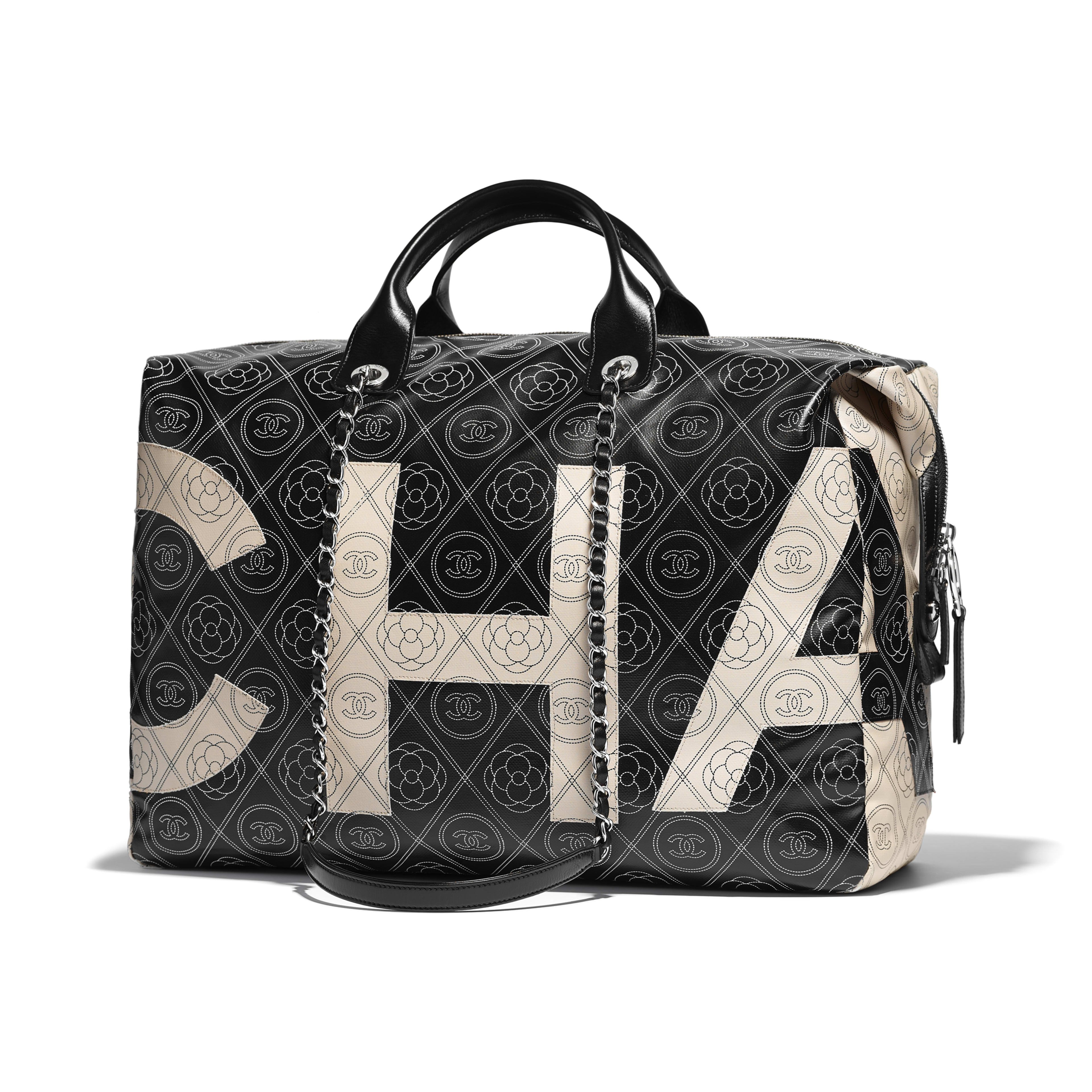 Bowling Bag Printed Canvas, Calfskin & Silver-Tone Metal Black & Beige -                                  view 1 - see full sized version