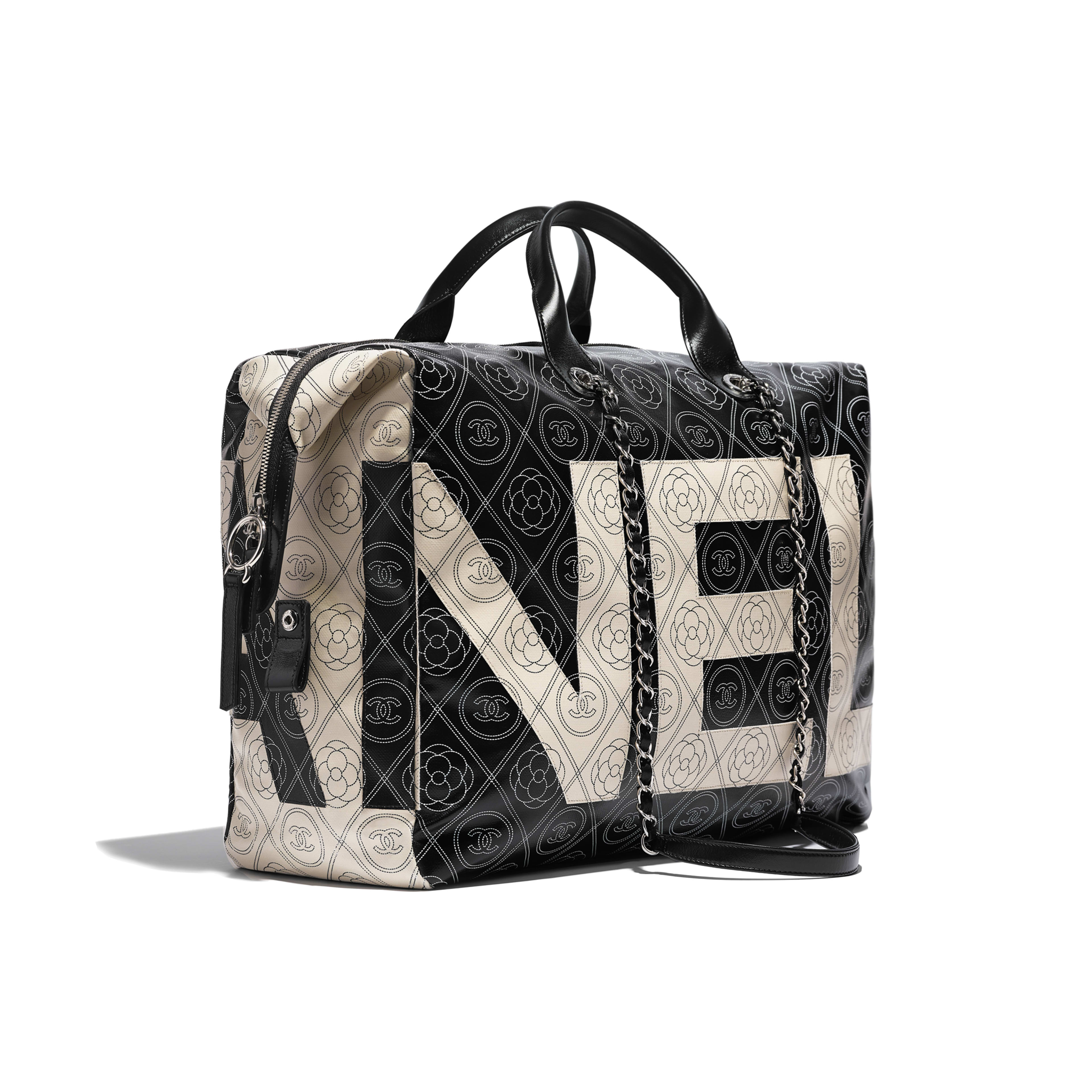 Bowling Bag Printed Canvas, Calfskin & Silver-Tone Metal Black & Beige -                                            view 3 - see full sized version