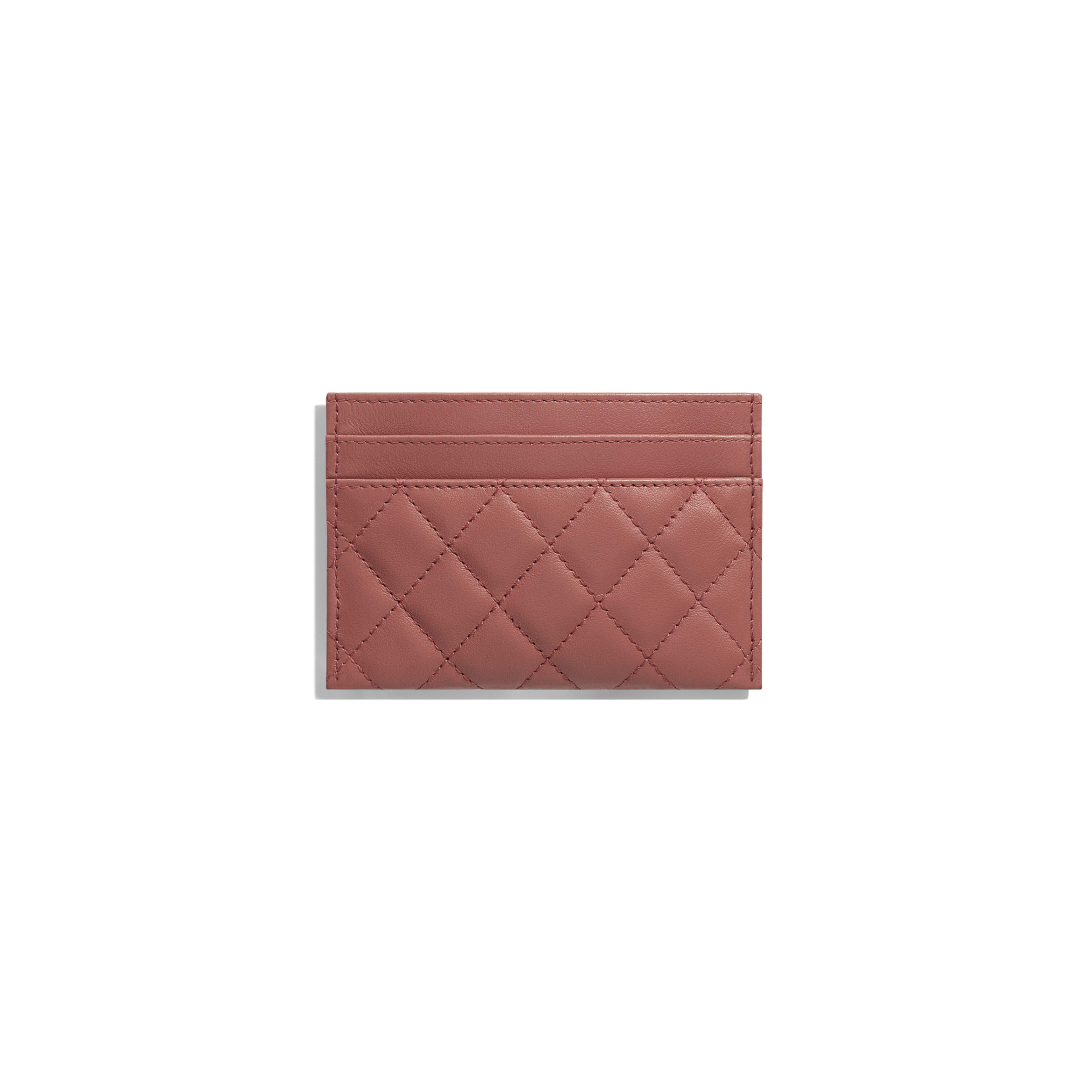 BOY CHANEL Card Holder - Dark Red - Calfskin & Gold-Tone Metal - Alternative view - see full sized version