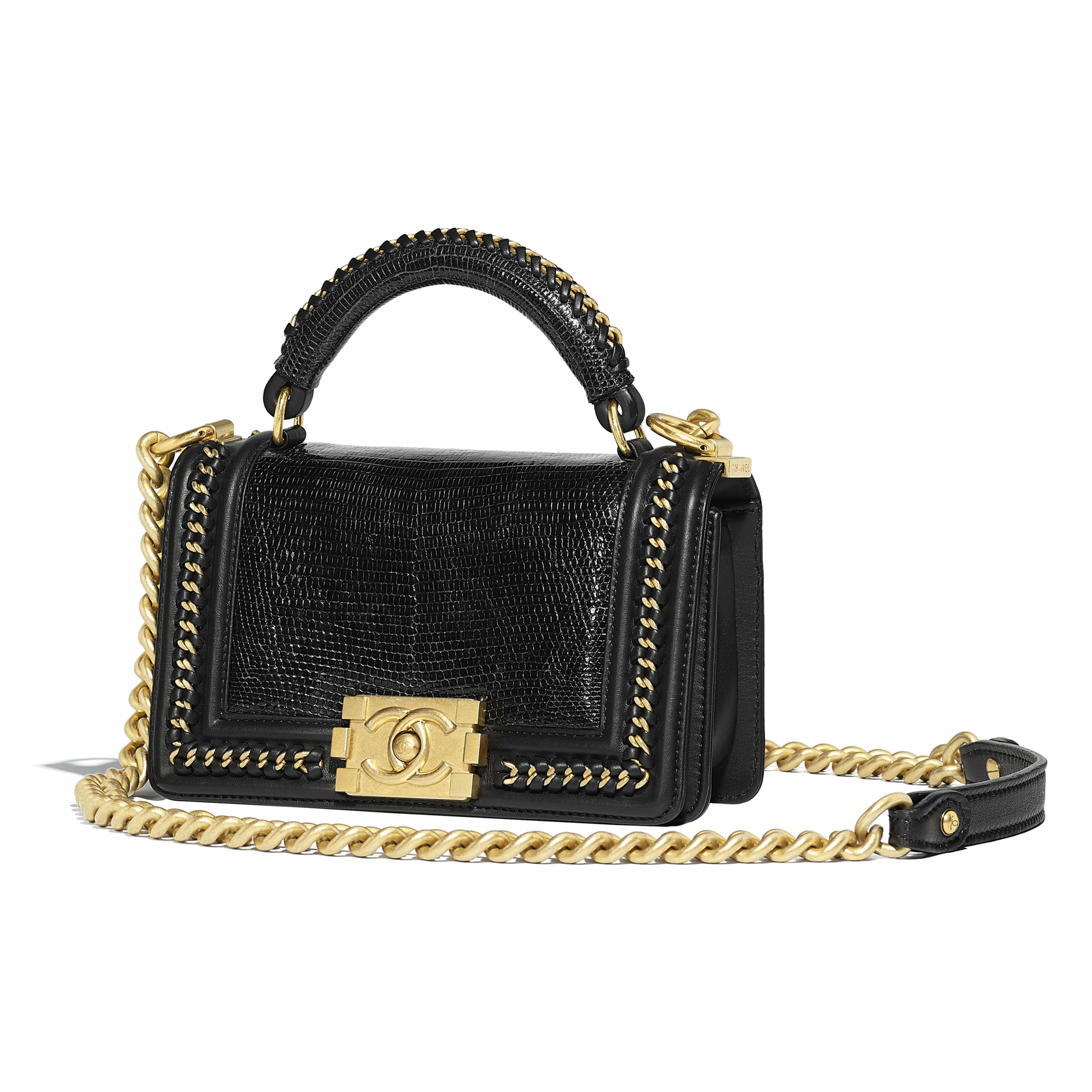 BOY CHANEL Flap Bag with Handle - Black - Lizard, Calfskin & Gold-Tone Metal - Default view - see full sized version