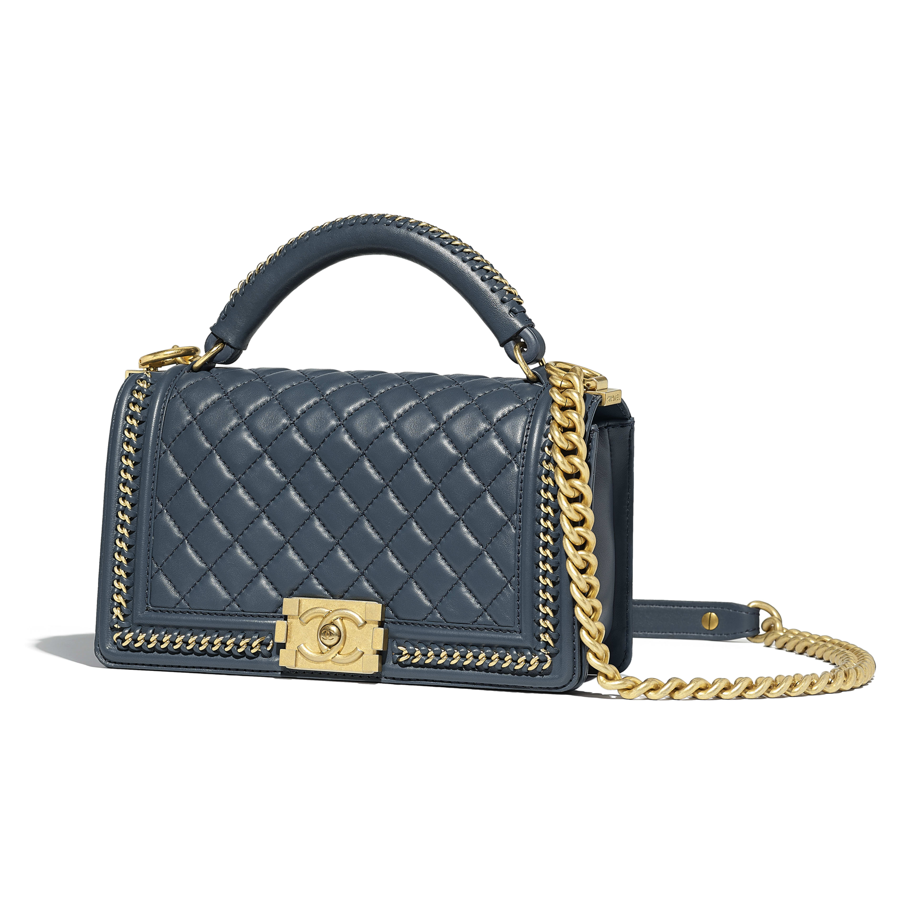 Boy Chanel Flap Bag With Handle Blue Calfskin Gold Tone Metal