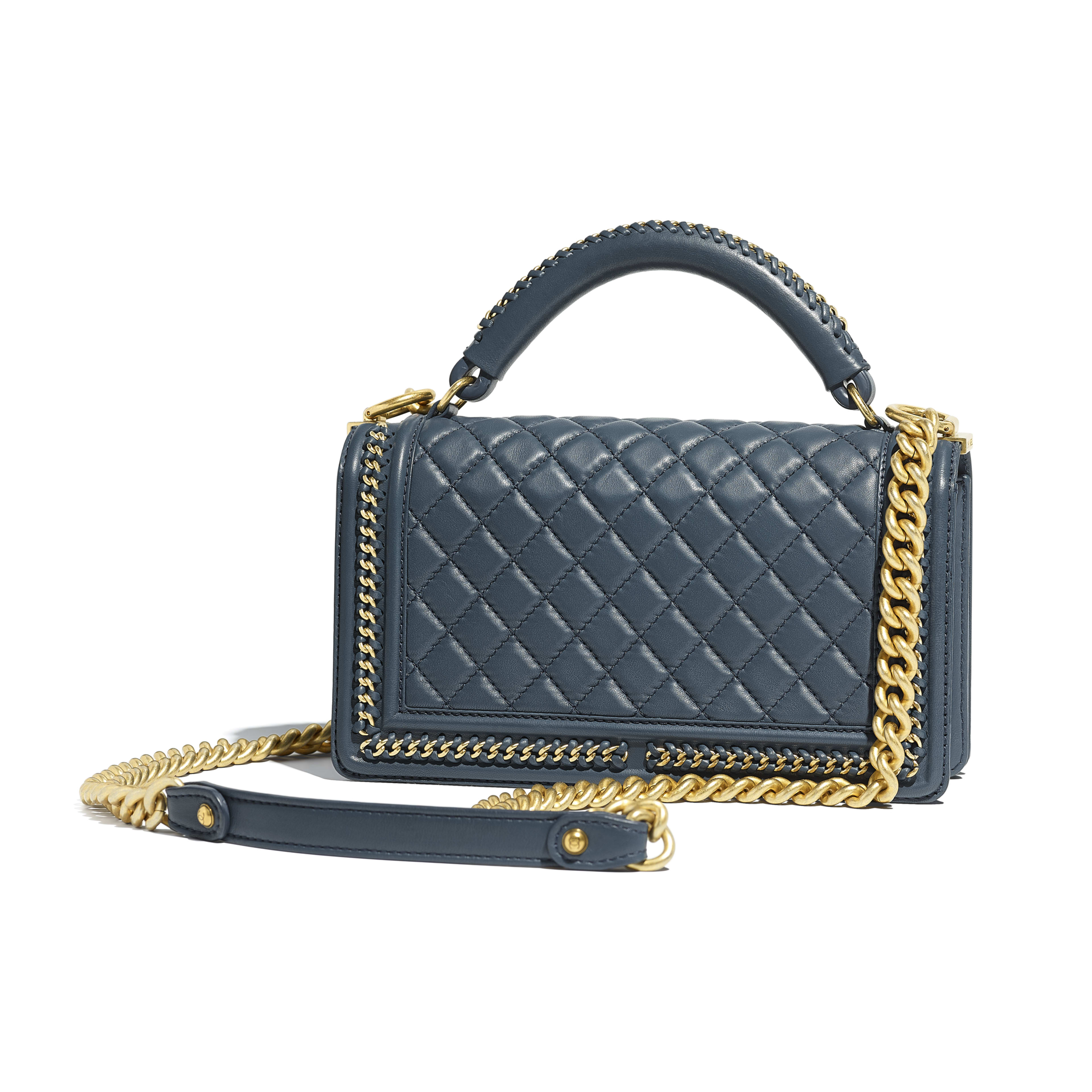 BOY CHANEL Flap Bag with Handle Calfskin & Gold-Tone Metal Blue -                                       view 2 - see full sized version