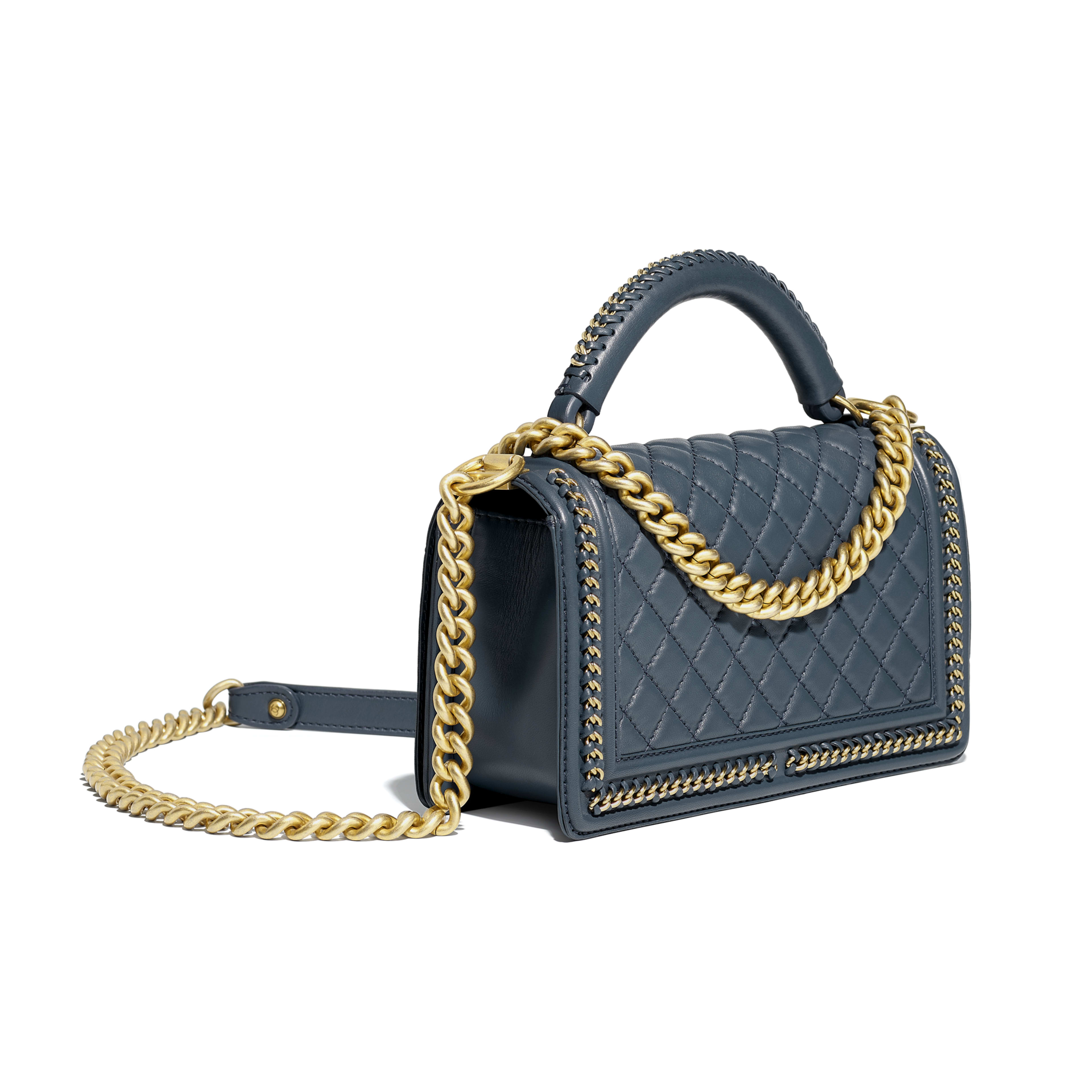 BOY CHANEL Flap Bag with Handle Calfskin & Gold-Tone Metal Blue -                                            view 3 - see full sized version