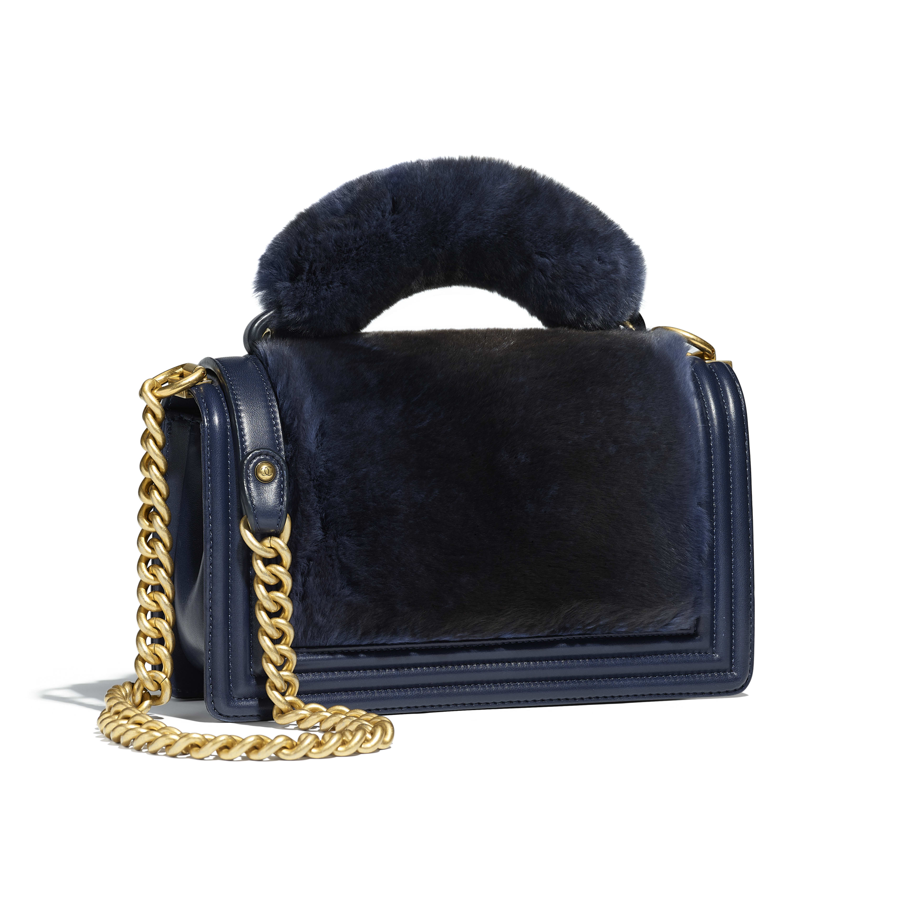 BOY CHANEL Flap Bag with Handle Orylag, Calfskin & Gold-Tone Metal Navy Blue -                                       view 2 - see full sized version