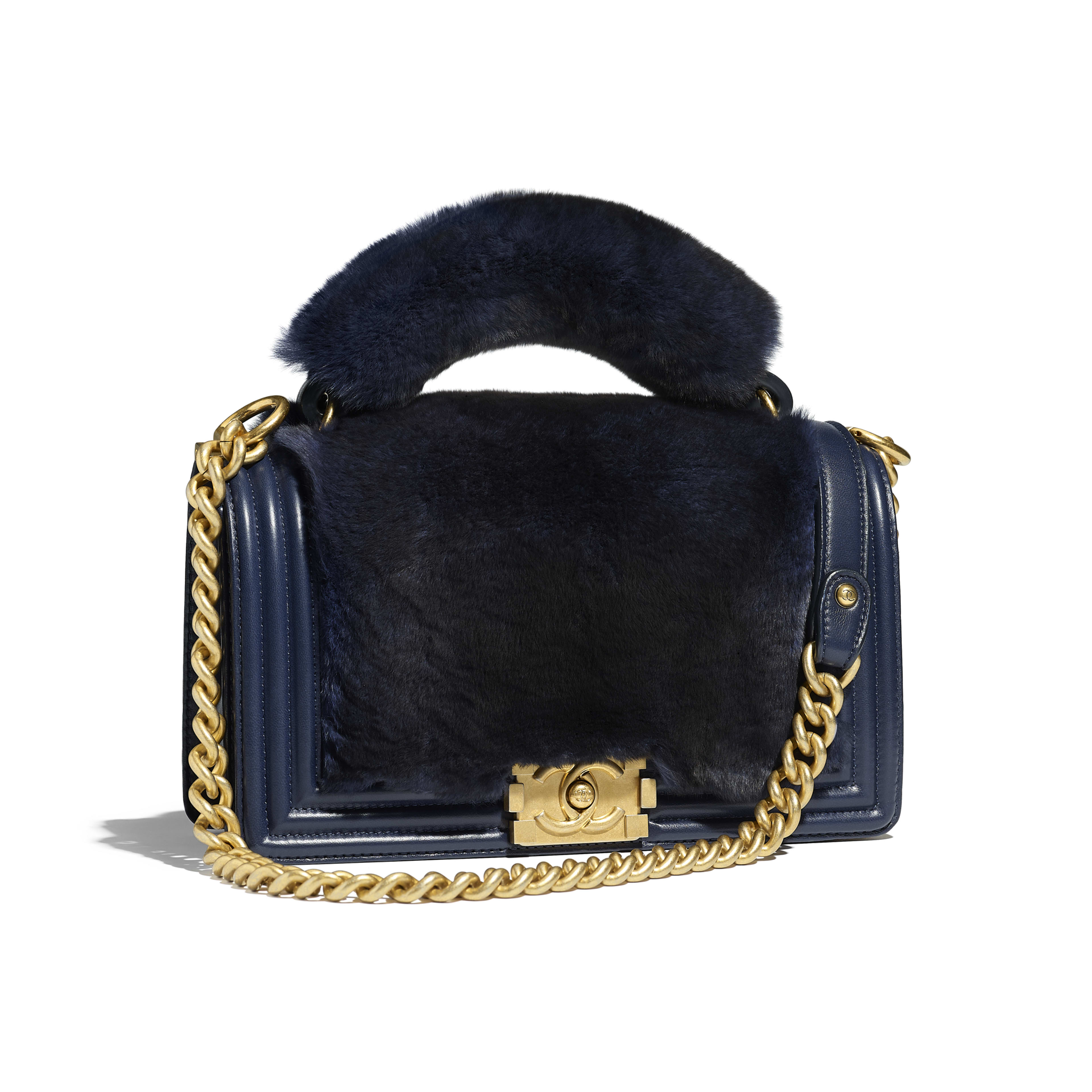 BOY CHANEL Flap Bag with Handle Orylag, Calfskin & Gold-Tone Metal Navy Blue -                                  view 1 - see full sized version