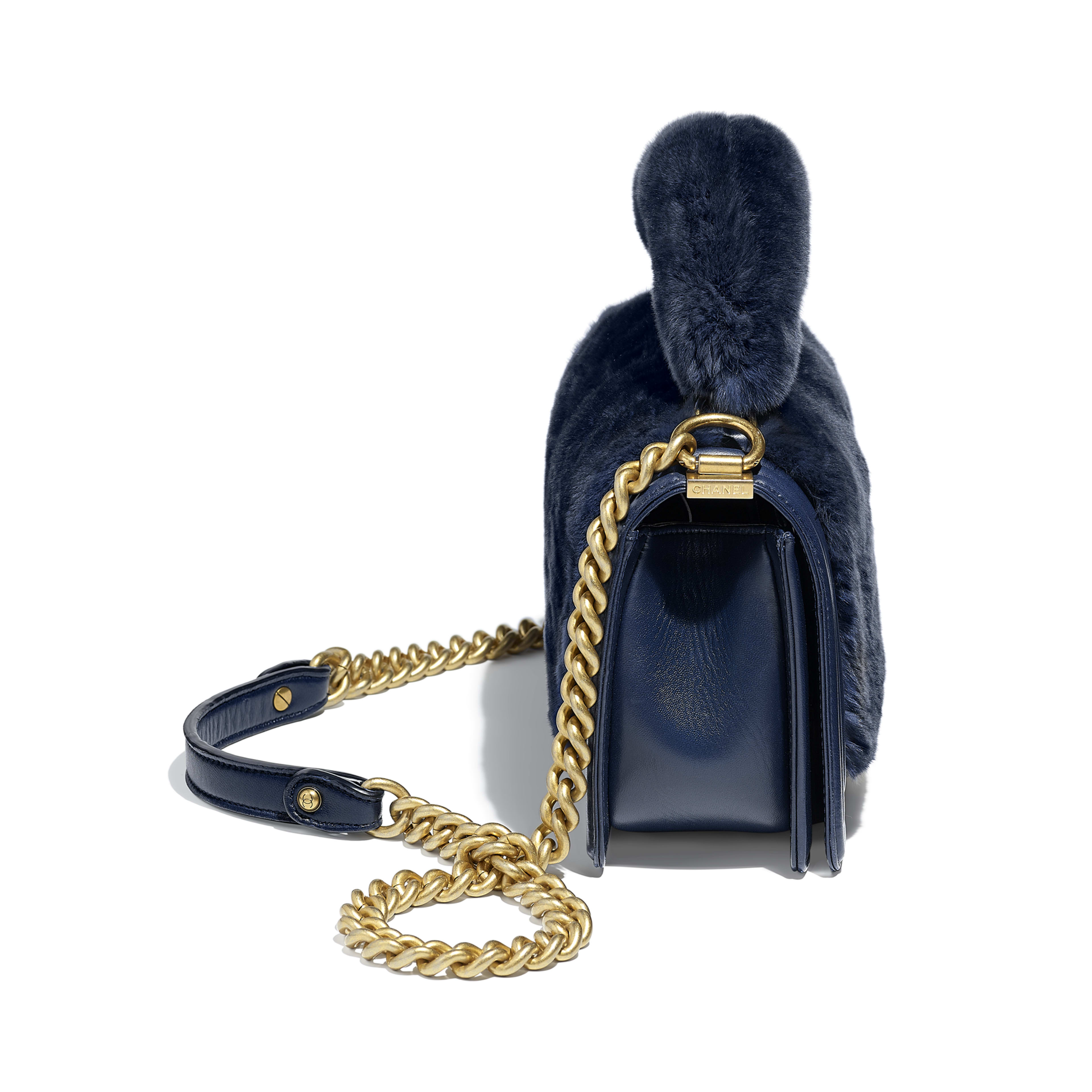 BOY CHANEL Flap Bag with Handle Orylag, Calfskin & Gold-Tone Metal Navy Blue -                                            view 3 - see full sized version