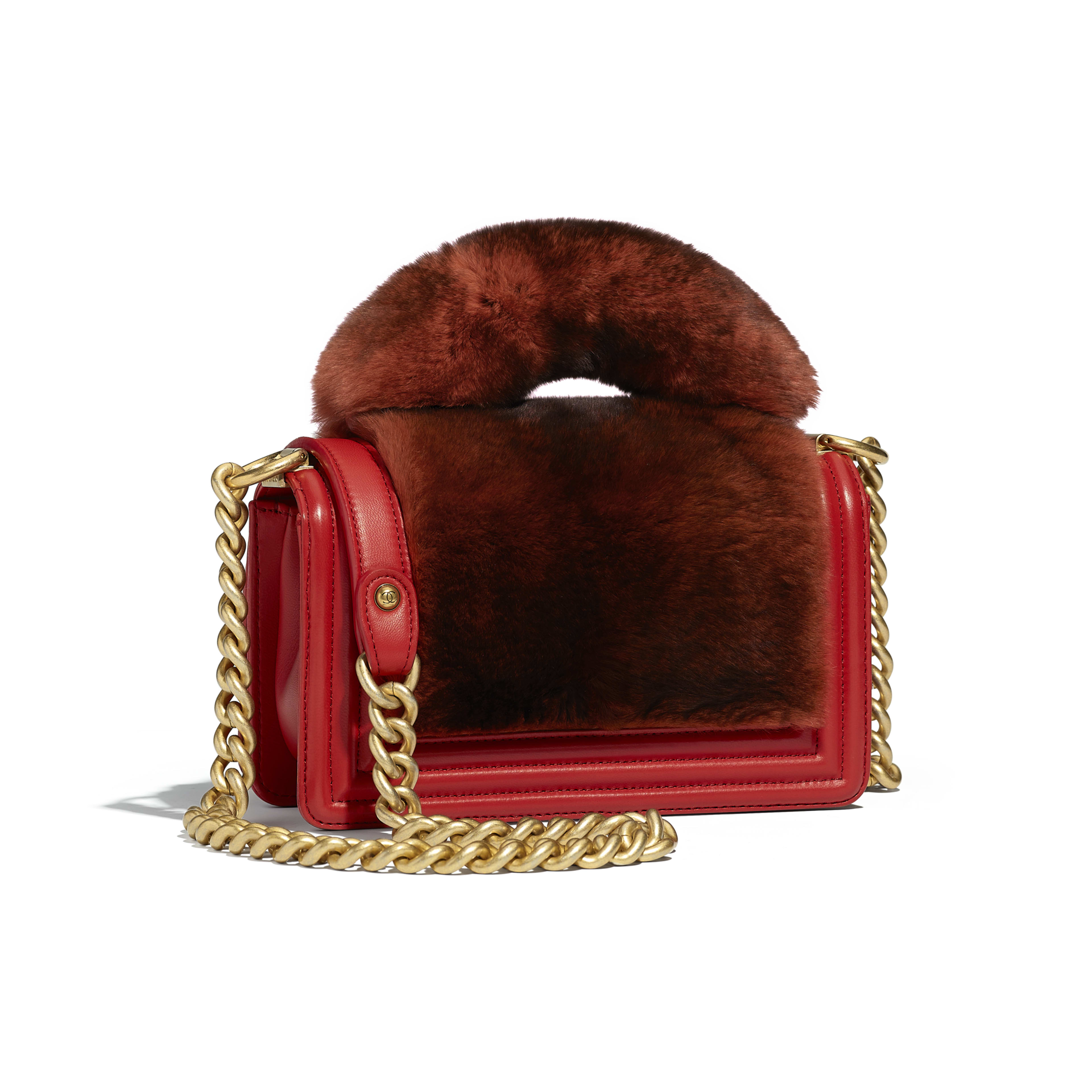 BOY CHANEL Flap Bag with Handle Orylag, Calfskin & Gold-Tone Metal Red -                                       view 2 - see full sized version
