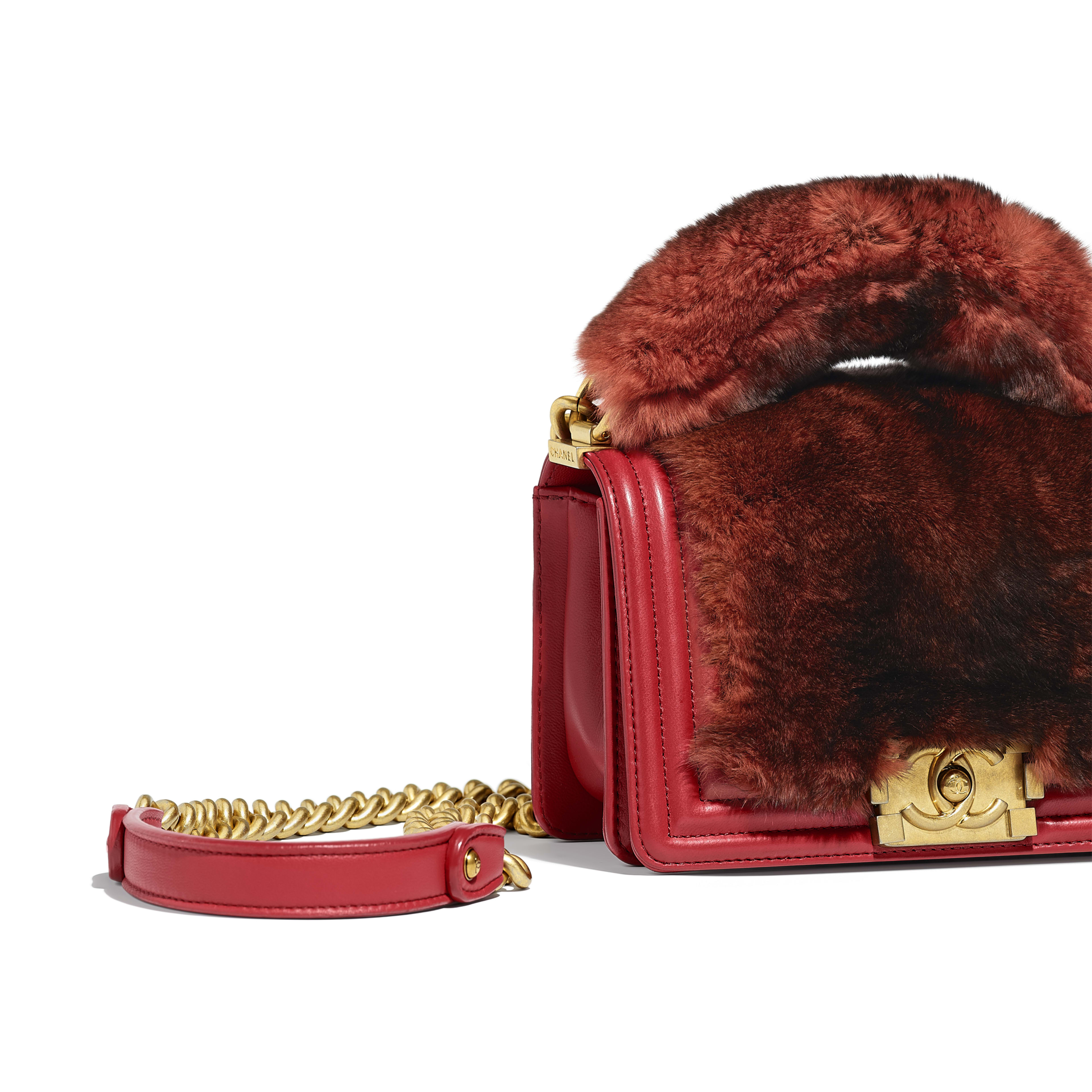 BOY CHANEL Flap Bag with Handle Orylag, Calfskin & Gold-Tone Metal Red -                                            view 3 - see full sized version