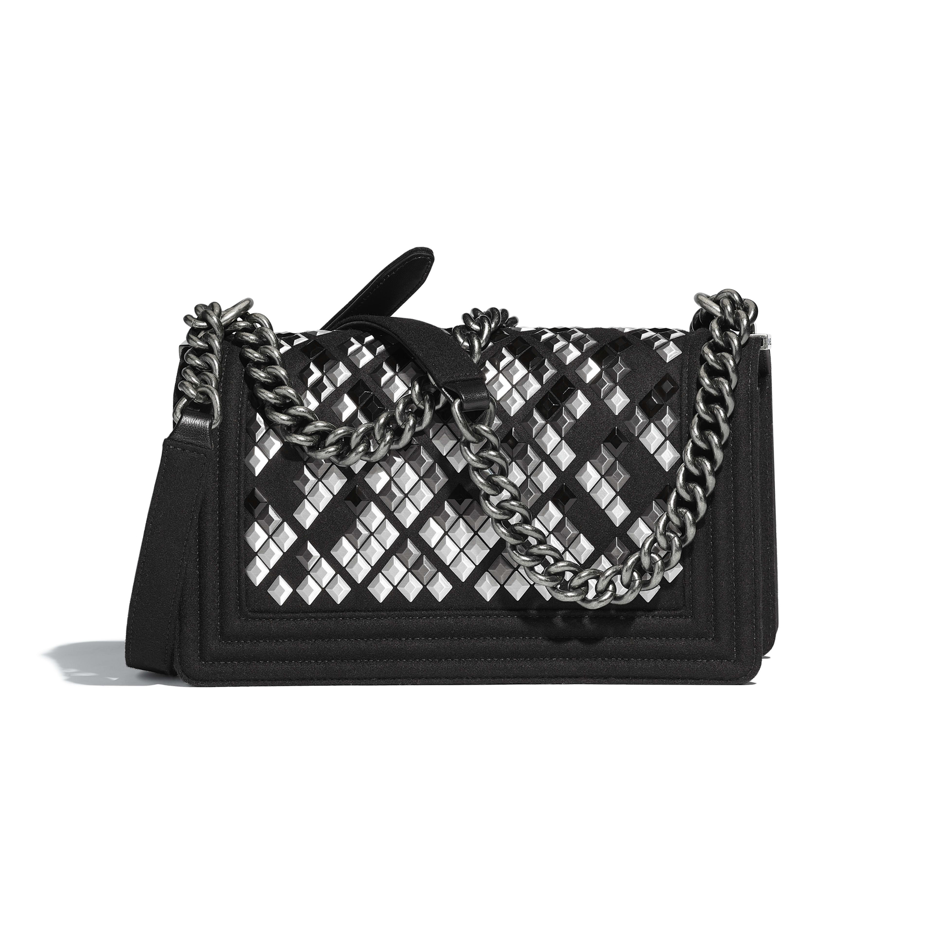 BOY CHANEL Handbag Embroidered Wool, Lambskin & Ruthenium-Finish Metal Black -                                       view 2 - see full sized version