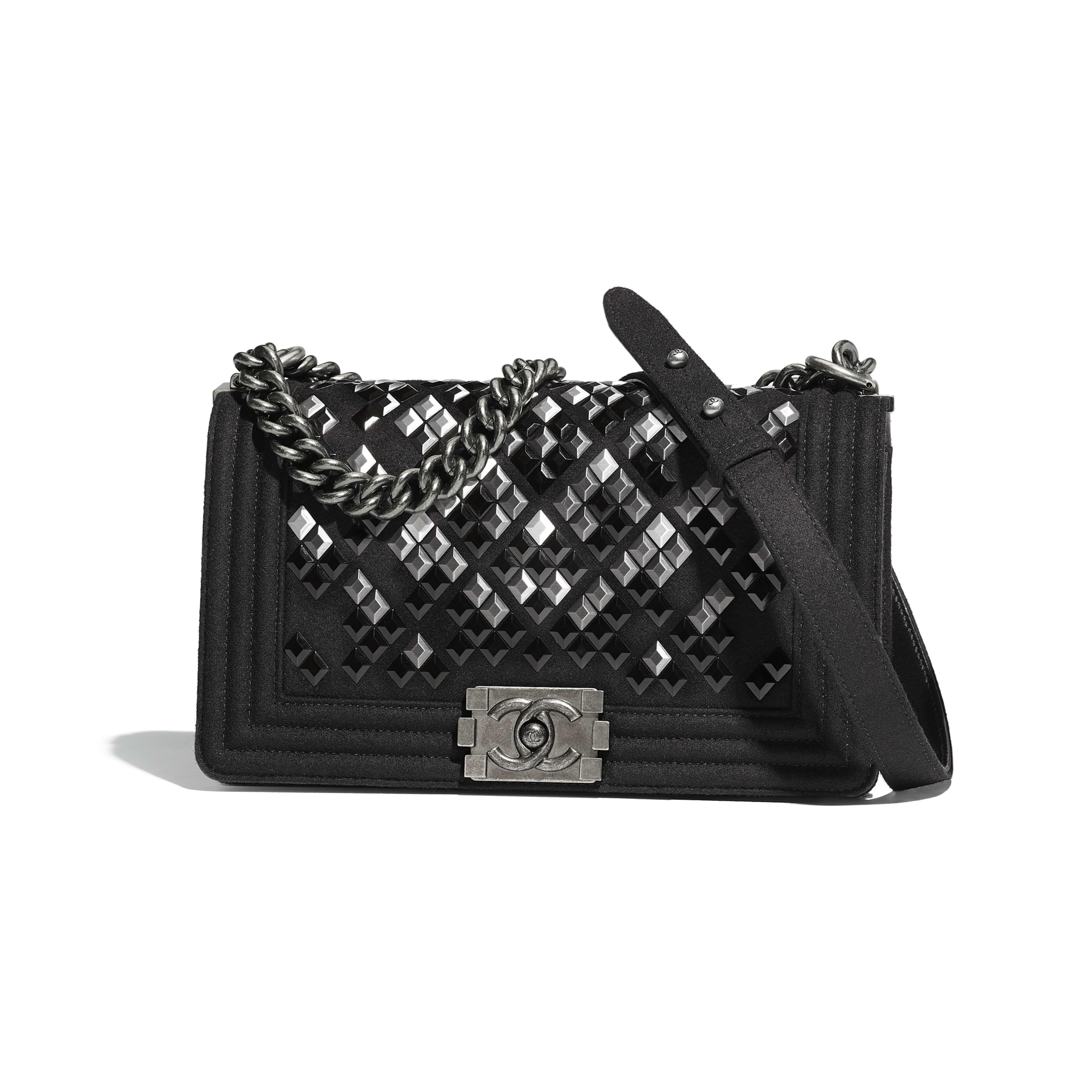 BOY CHANEL Handbag Embroidered Wool, Lambskin & Ruthenium-Finish Metal Black -                                  view 1 - see full sized version