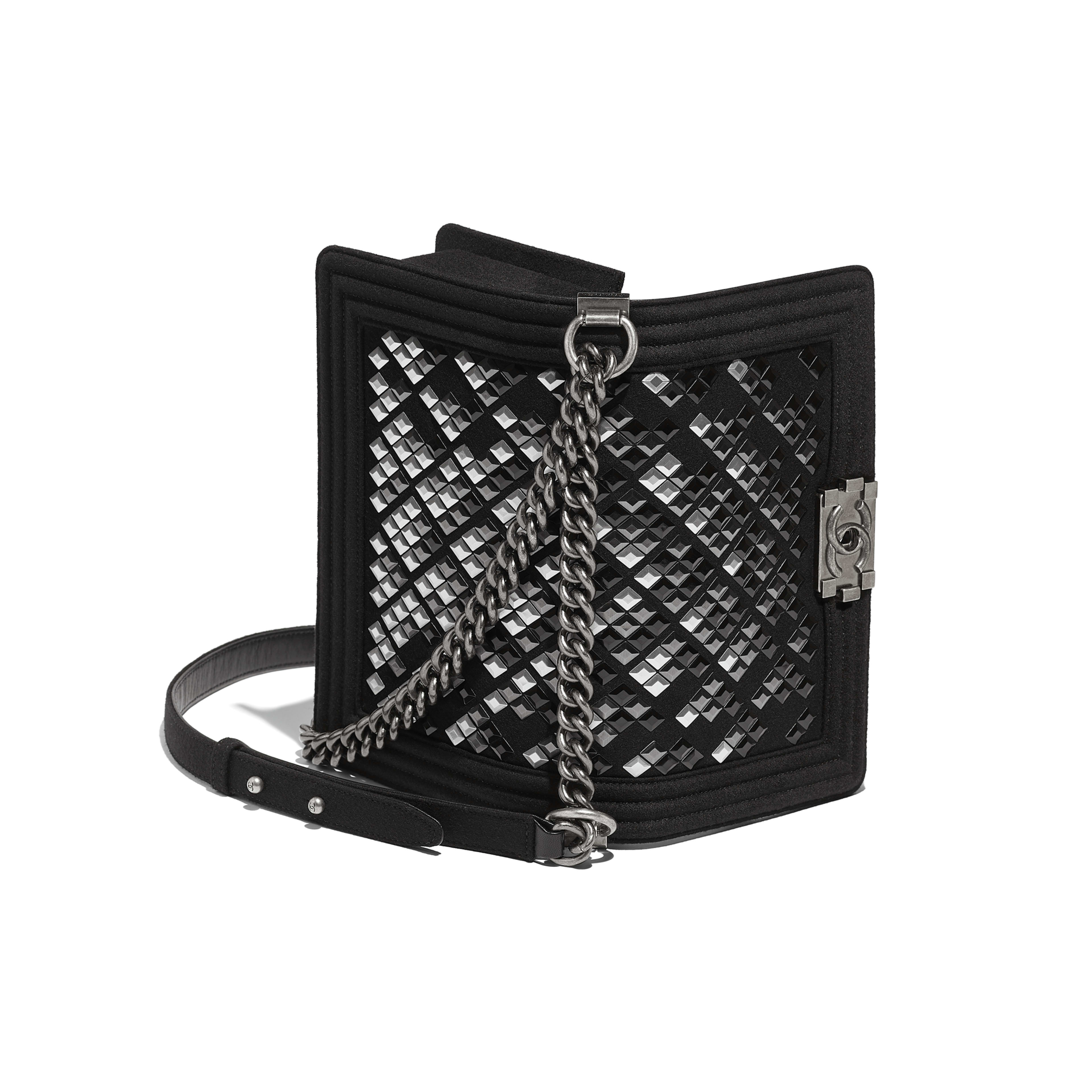 BOY CHANEL Handbag Embroidered Wool, Lambskin & Ruthenium-Finish Metal Black -                                            view 3 - see full sized version