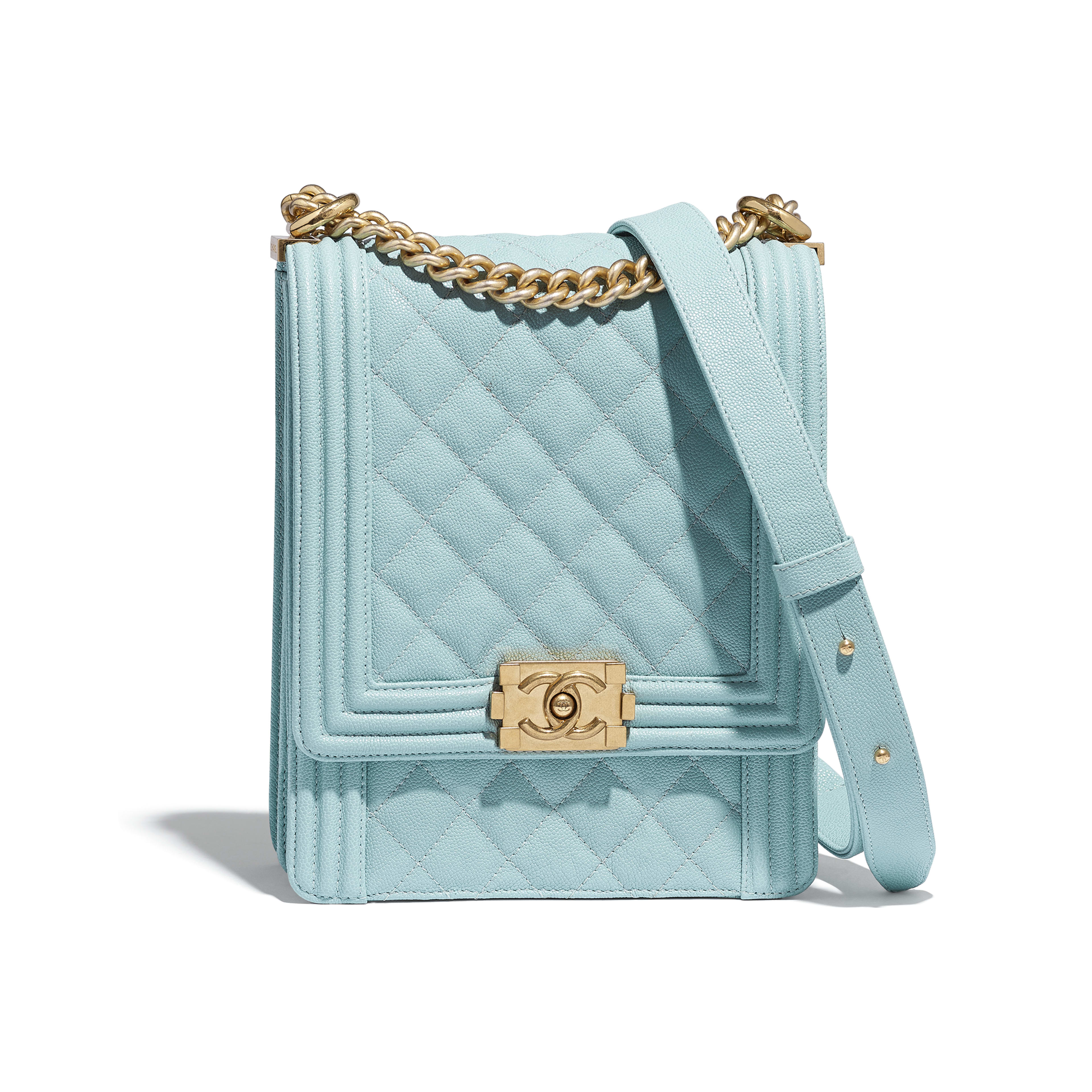 BOY CHANEL Handbag - Light Blue - Grained Calfskin   Gold-Tone Metal -  Default ... 6d9e8ae7d