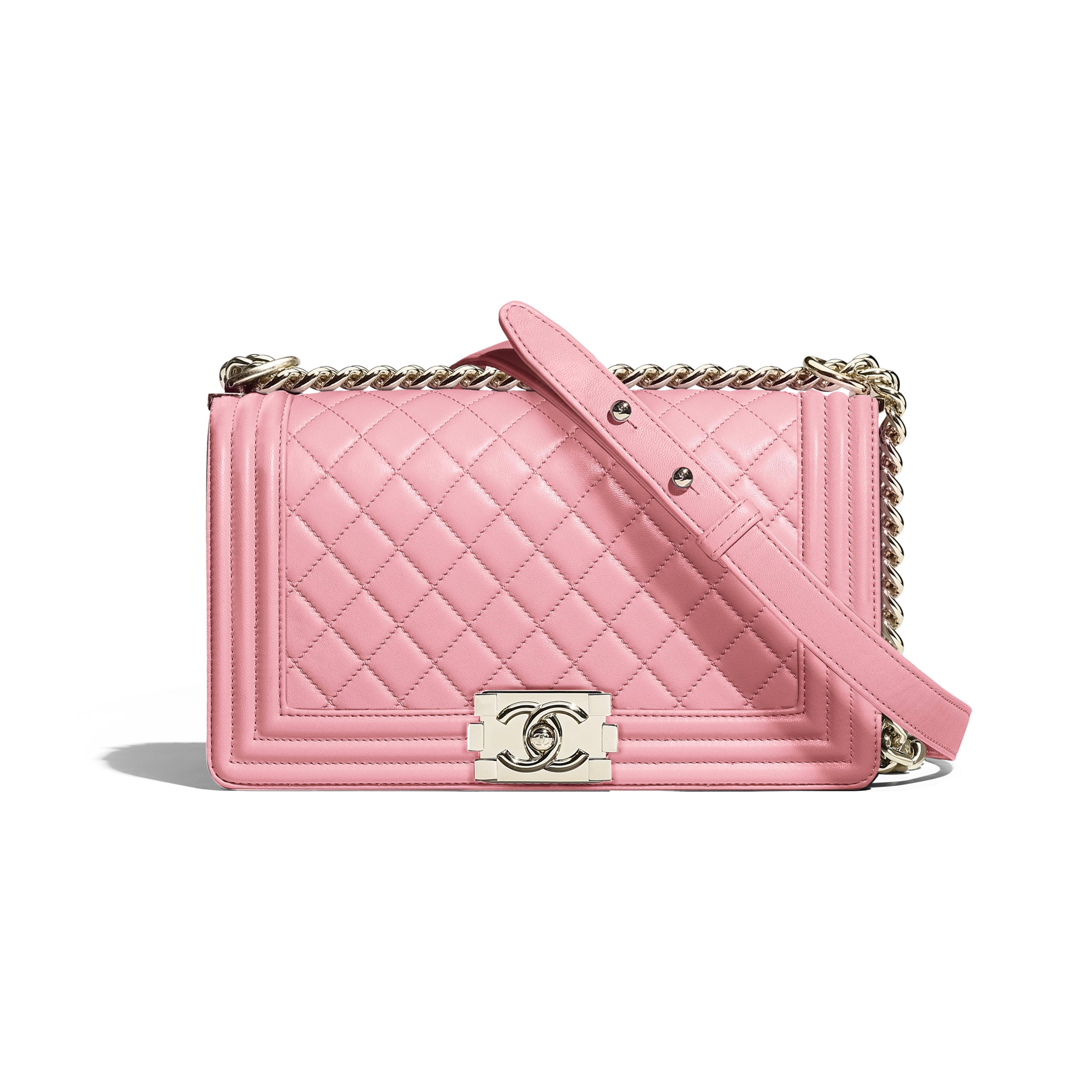 Calfskin & Gold-Tone Metal Pink BOY CHANEL Handbag   CHANEL