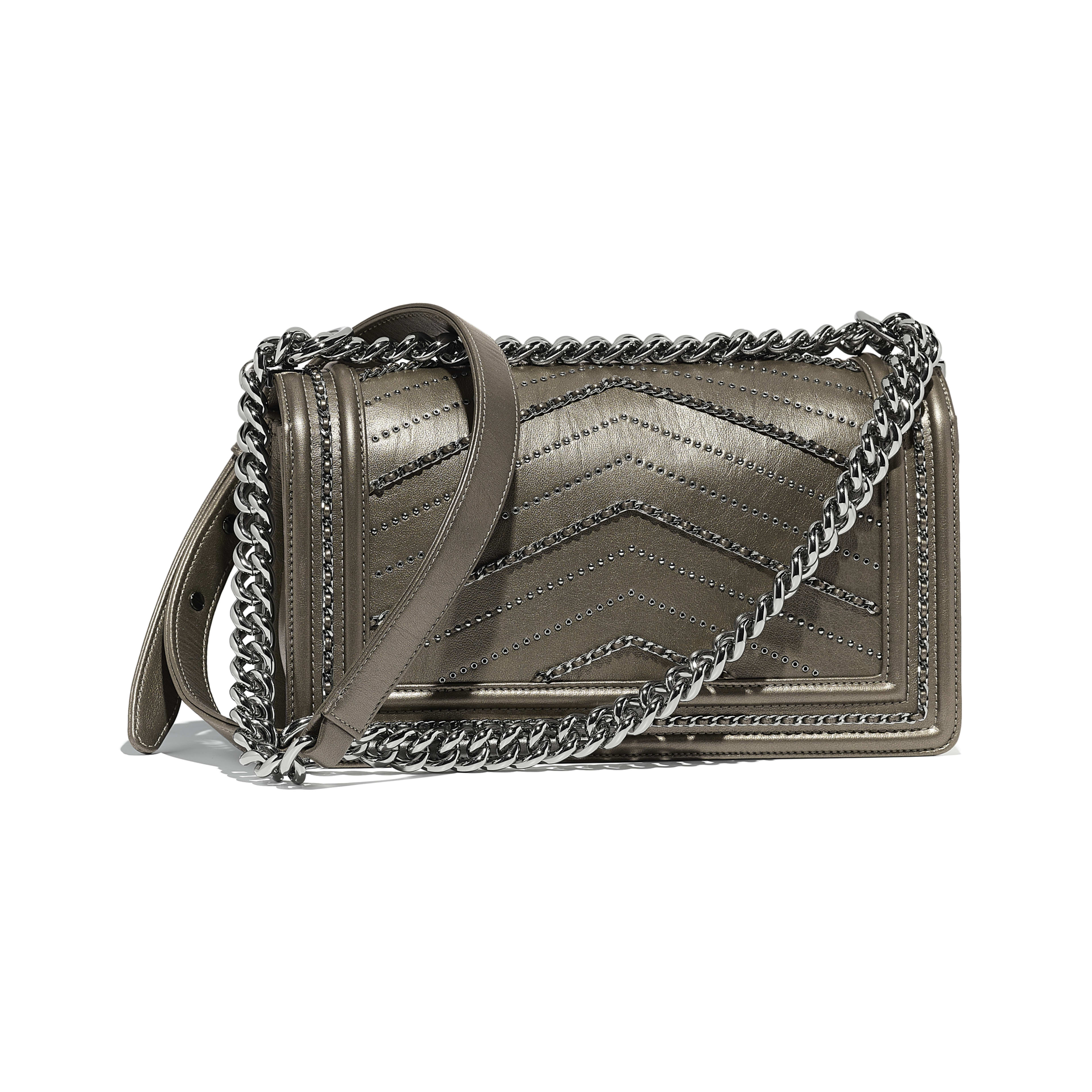 BOY CHANEL Handbag Metallic Crumpled Calfskin & Ruthenium-Finish Metal Silver -                                       view 2 - see full sized version