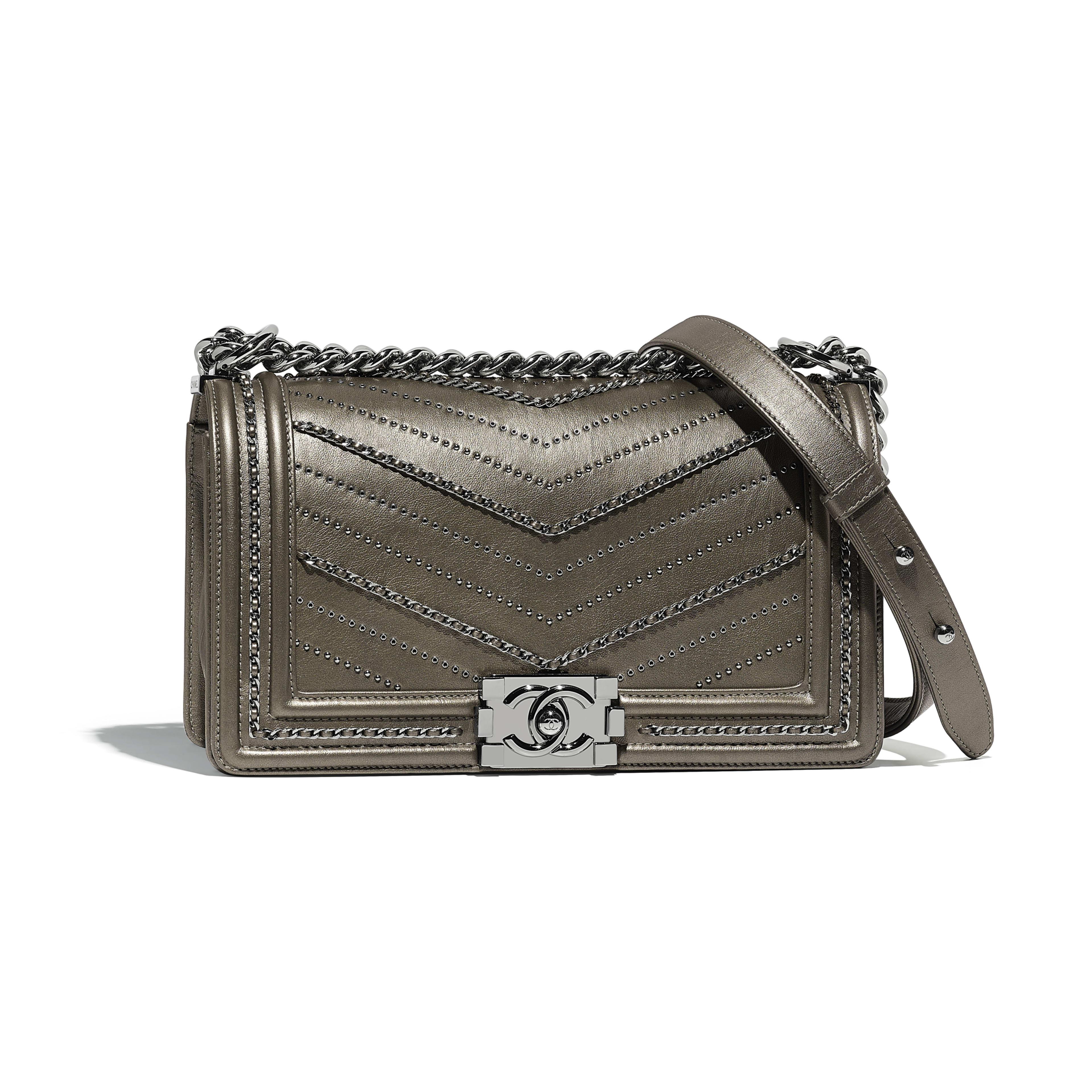 BOY CHANEL Handbag Metallic Crumpled Calfskin & Ruthenium-Finish Metal Silver -                                  view 1 - see full sized version