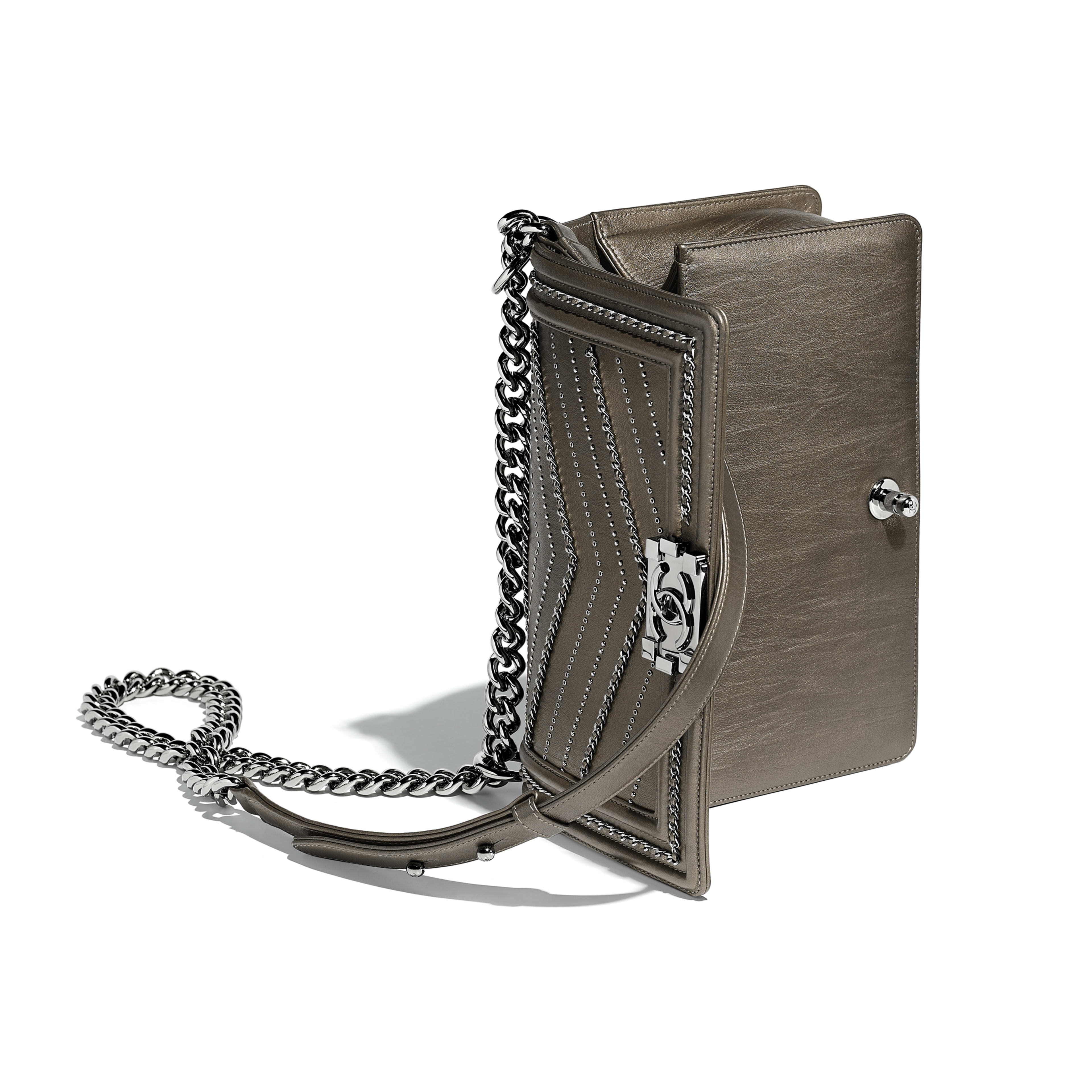 BOY CHANEL Handbag Metallic Crumpled Calfskin & Ruthenium-Finish Metal Silver -                                            view 3 - see full sized version
