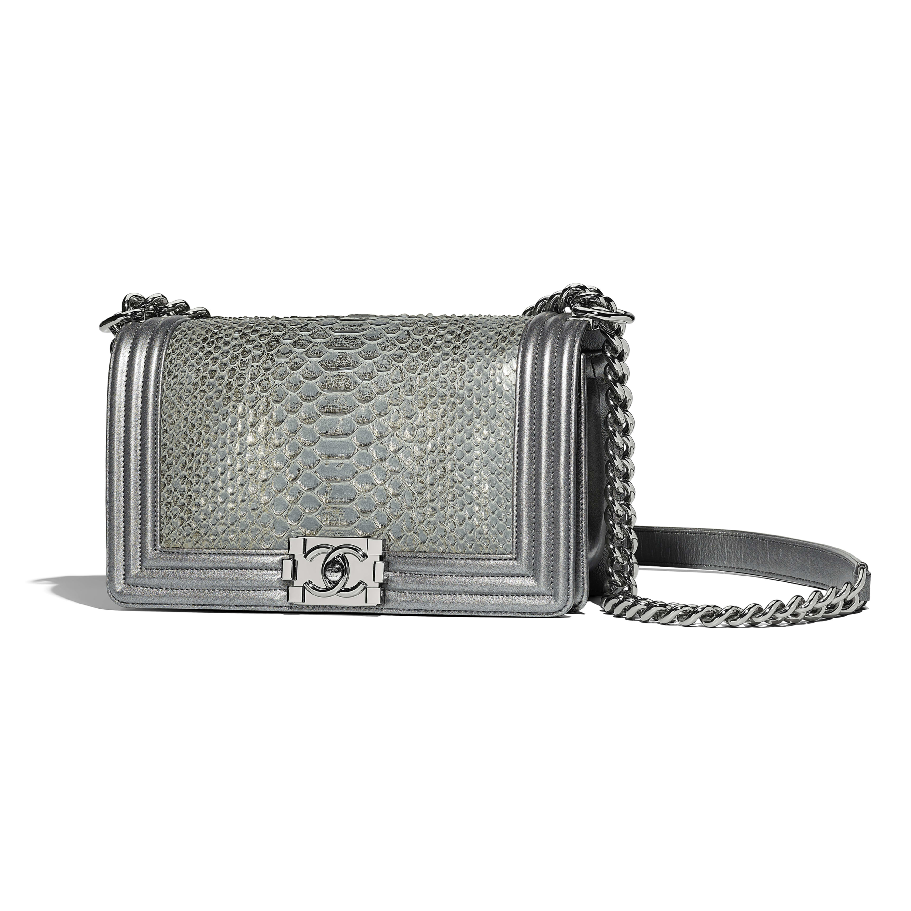 BOY CHANEL Handbag Python, Metallic Lambskin & Ruthenium-Finish Metal Silver -                                  view 1 - see full sized version