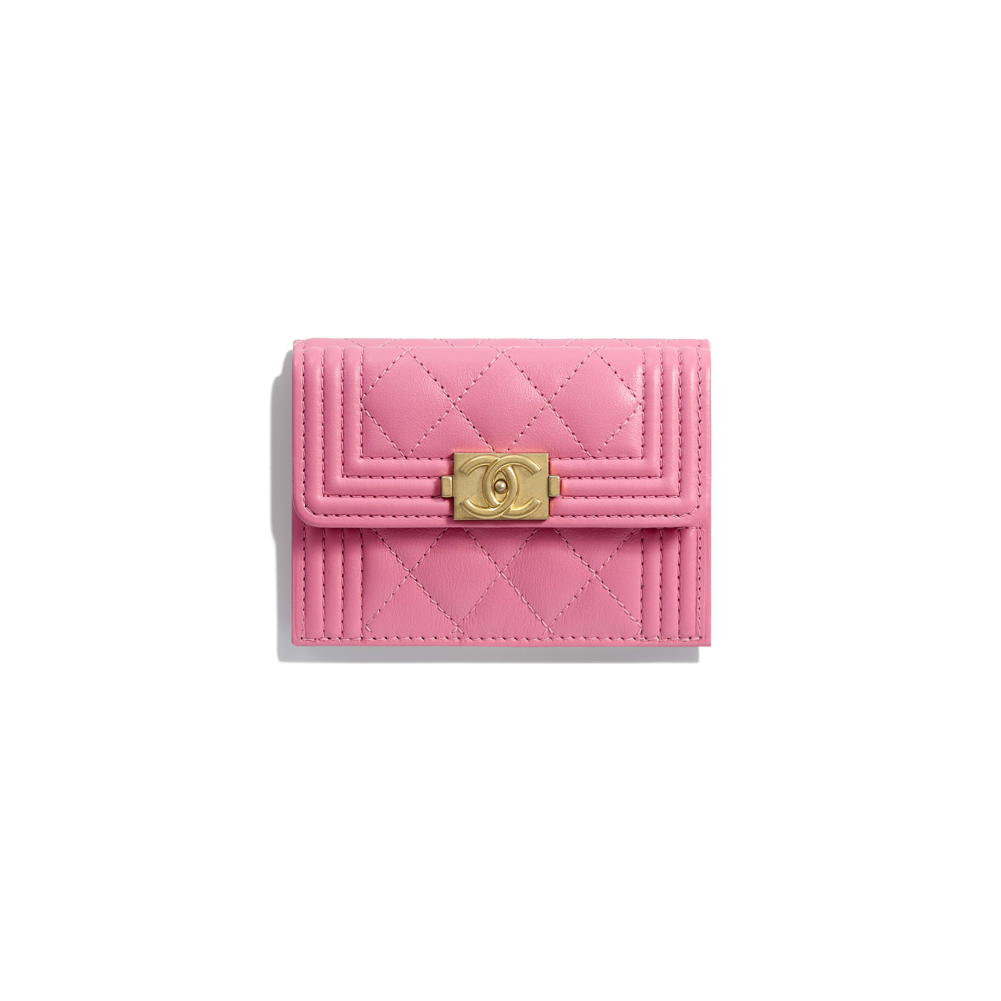 00b066ae388a70 Calfskin & Gold-Tone Metal Pink BOY CHANEL Small Flap Wallet | CHANEL