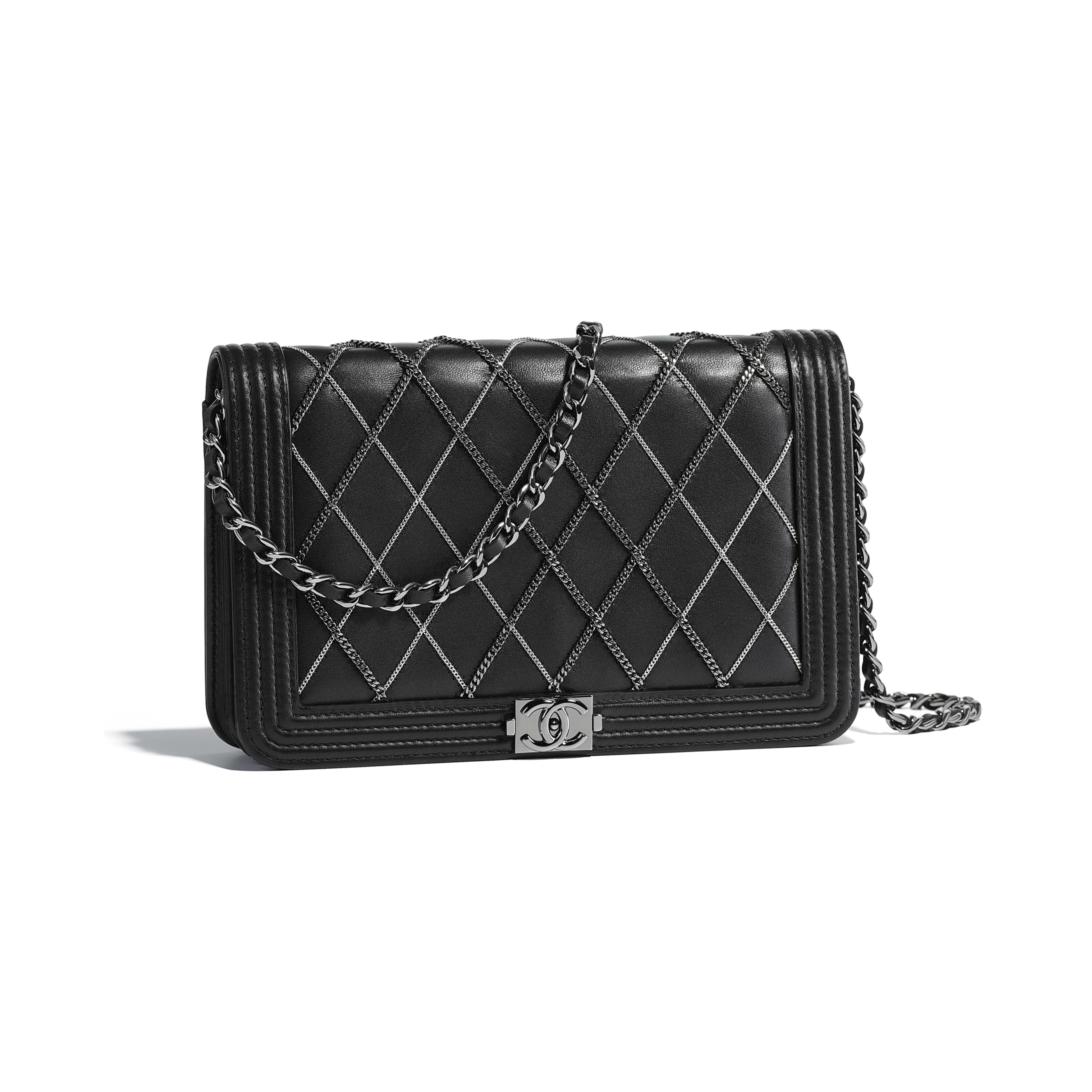 44f08c18816d Lambskin, Chains, Ruthenium-Finish & Silver-Tone Metal Black BOY CHANEL  Wallet