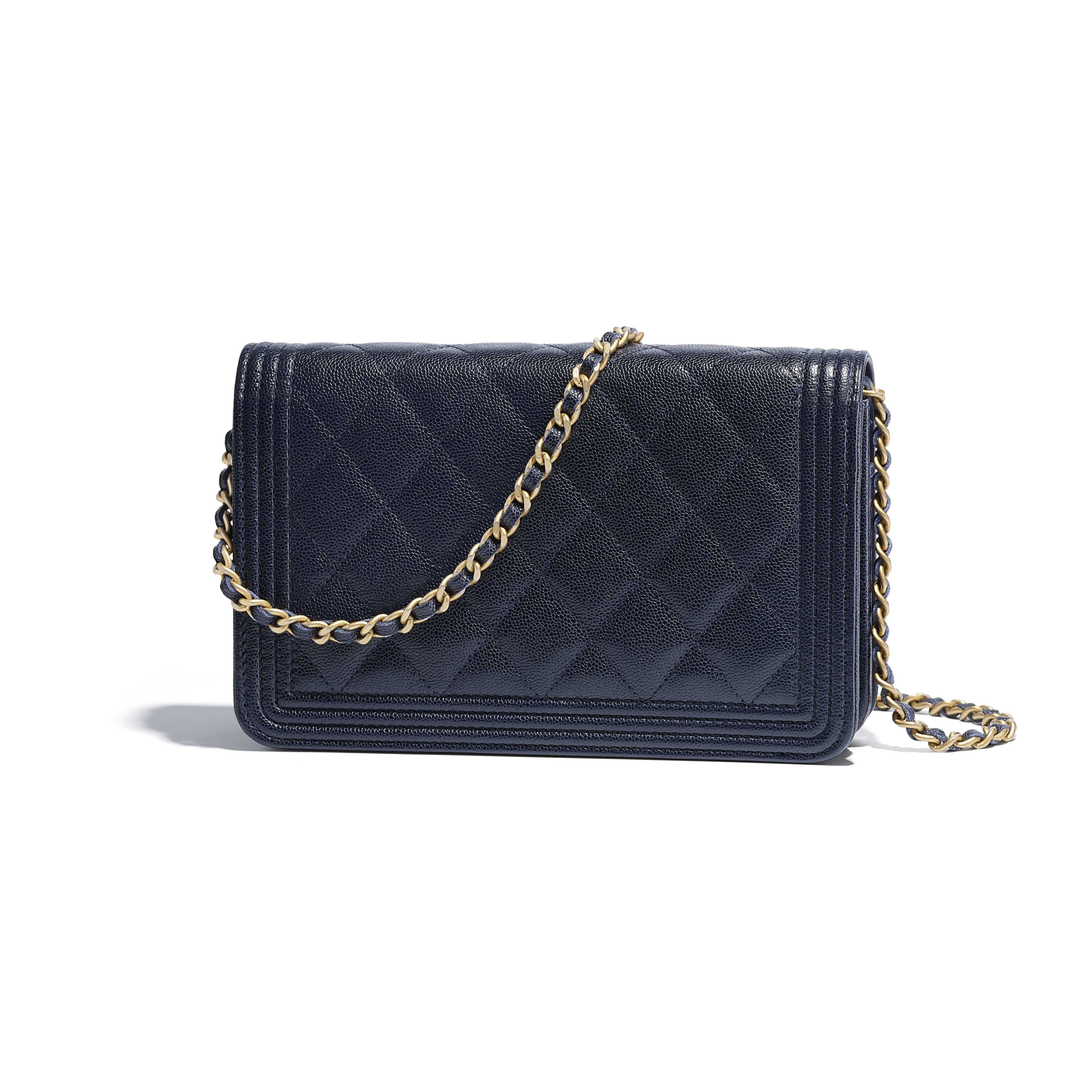 9ccb0fc58381 Grained Calfskin Gold Tone Metal Navy Blue Boy Chanel Wallet On