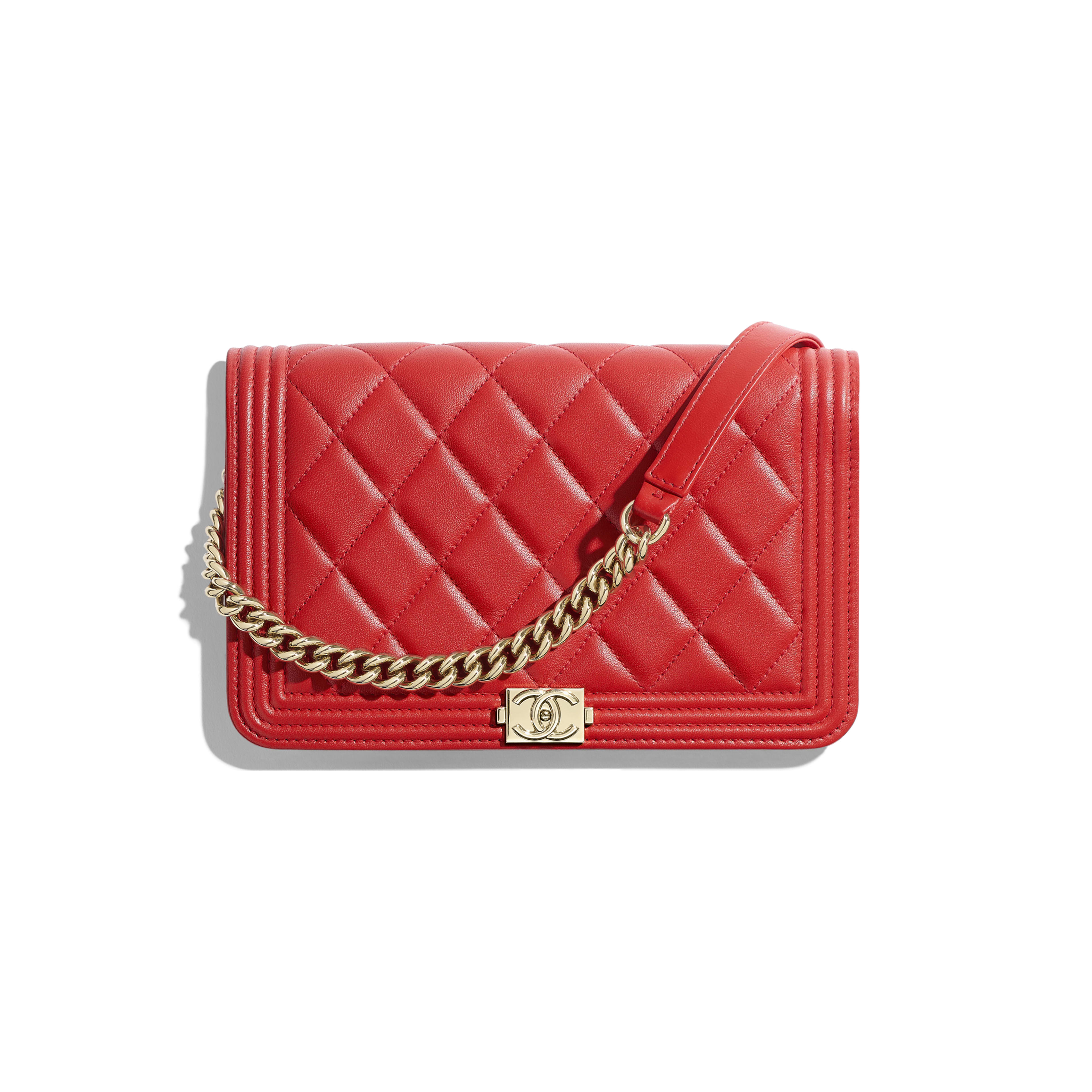 Lambskin   Gold-Tone Metal Red BOY CHANEL Wallet on Chain ... 17bc972e2