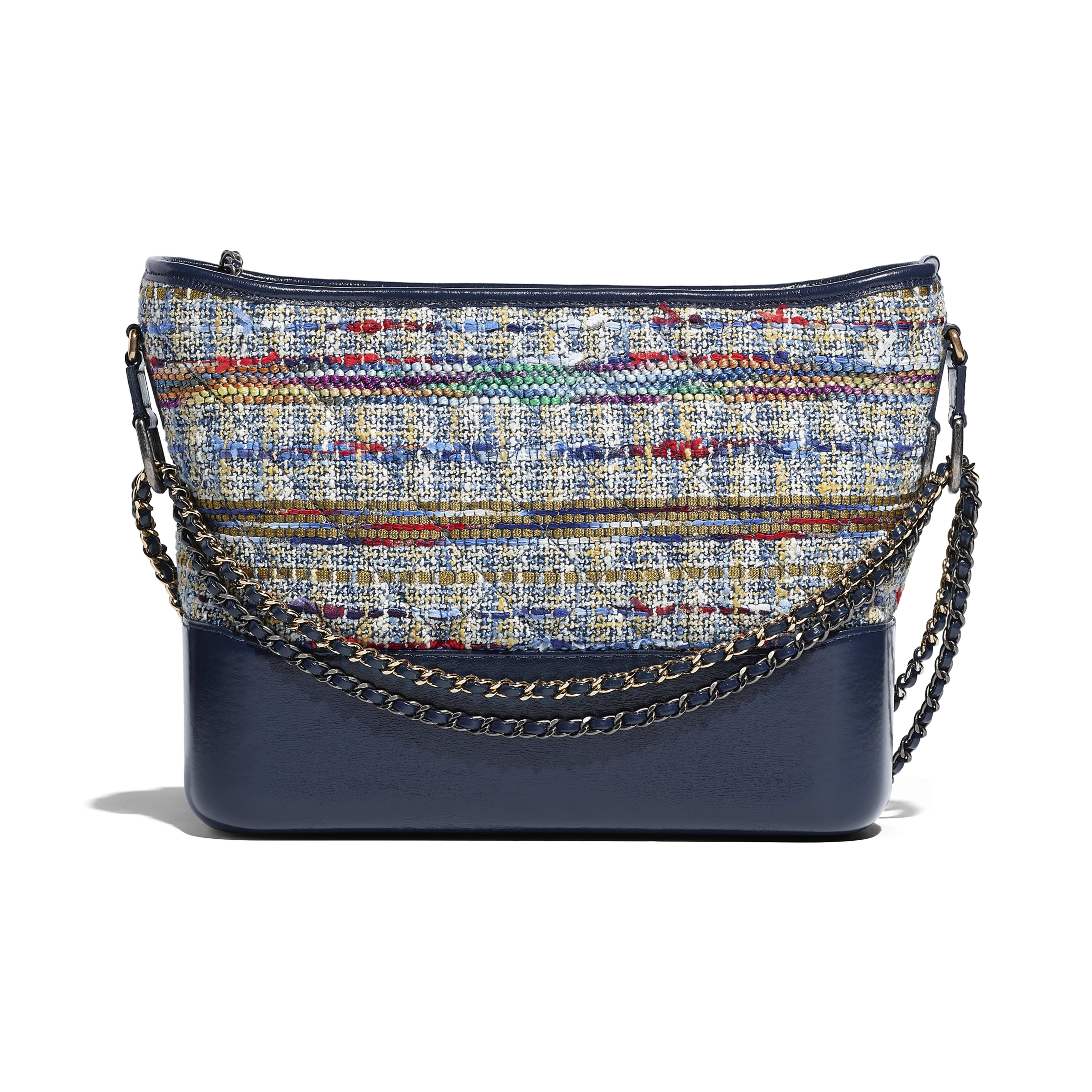 CHANEL'S GABRIELLE Hobo Bag Tweed, Calfskin, Silver-Tone & Gold-Tone Metal Blue, Gold, Red, White & Navy Blue -                                       view 2 - see full sized version