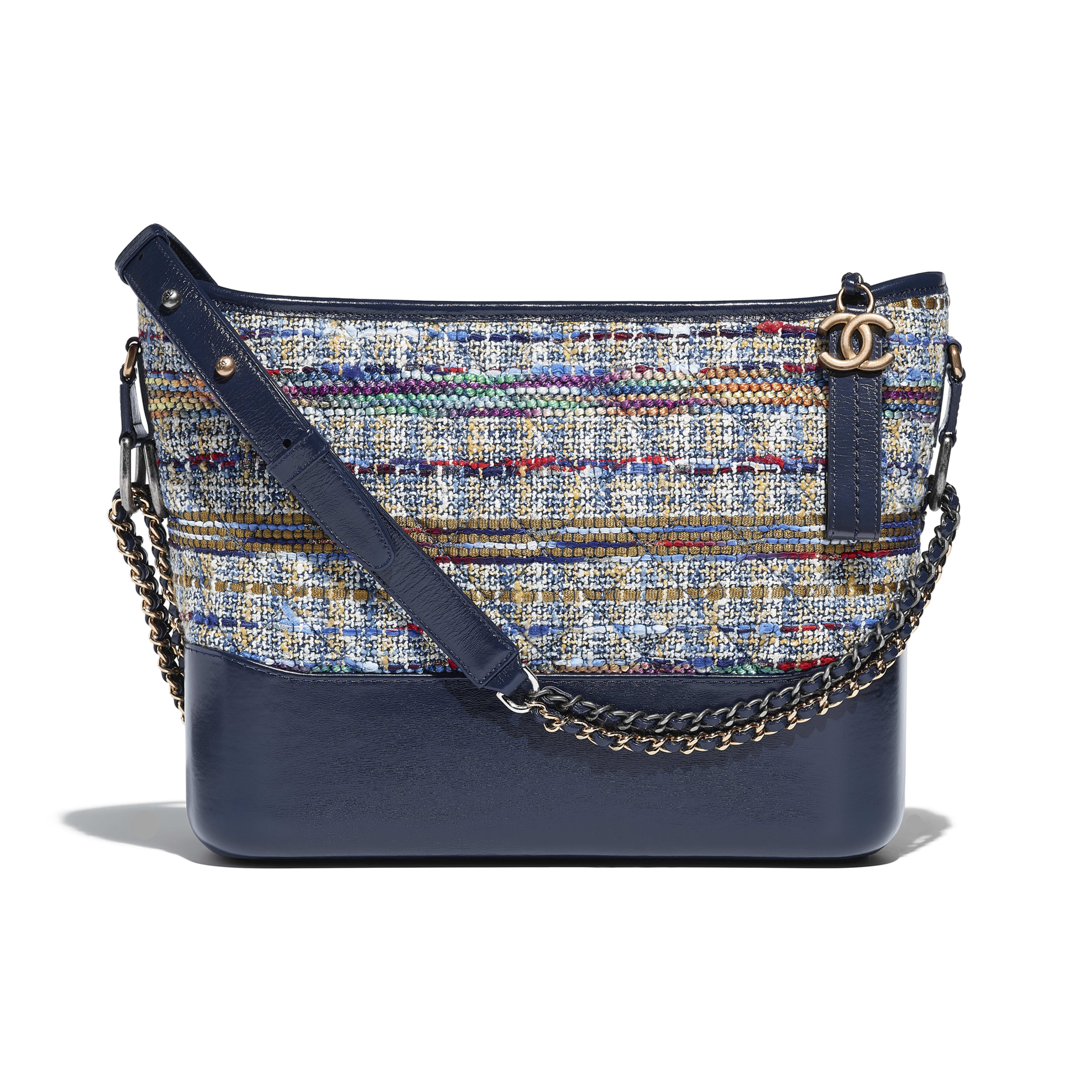 CHANEL'S GABRIELLE Hobo Bag Tweed, Calfskin, Silver-Tone & Gold-Tone Metal Blue, Gold, Red, White & Navy Blue -                                  view 1 - see full sized version