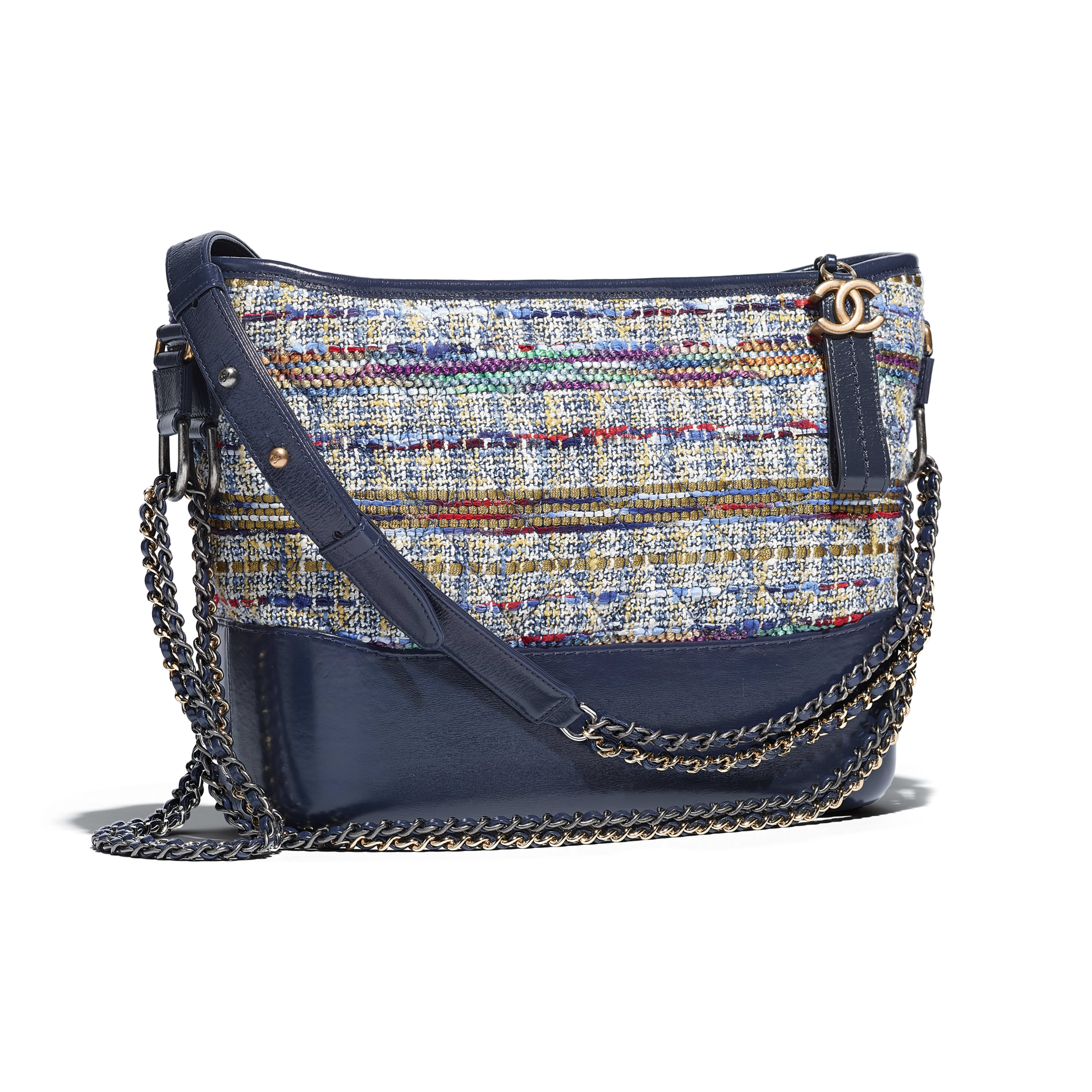 CHANEL'S GABRIELLE Hobo Bag Tweed, Calfskin, Silver-Tone & Gold-Tone Metal Blue, Gold, Red, White & Navy Blue -                                            view 3 - see full sized version