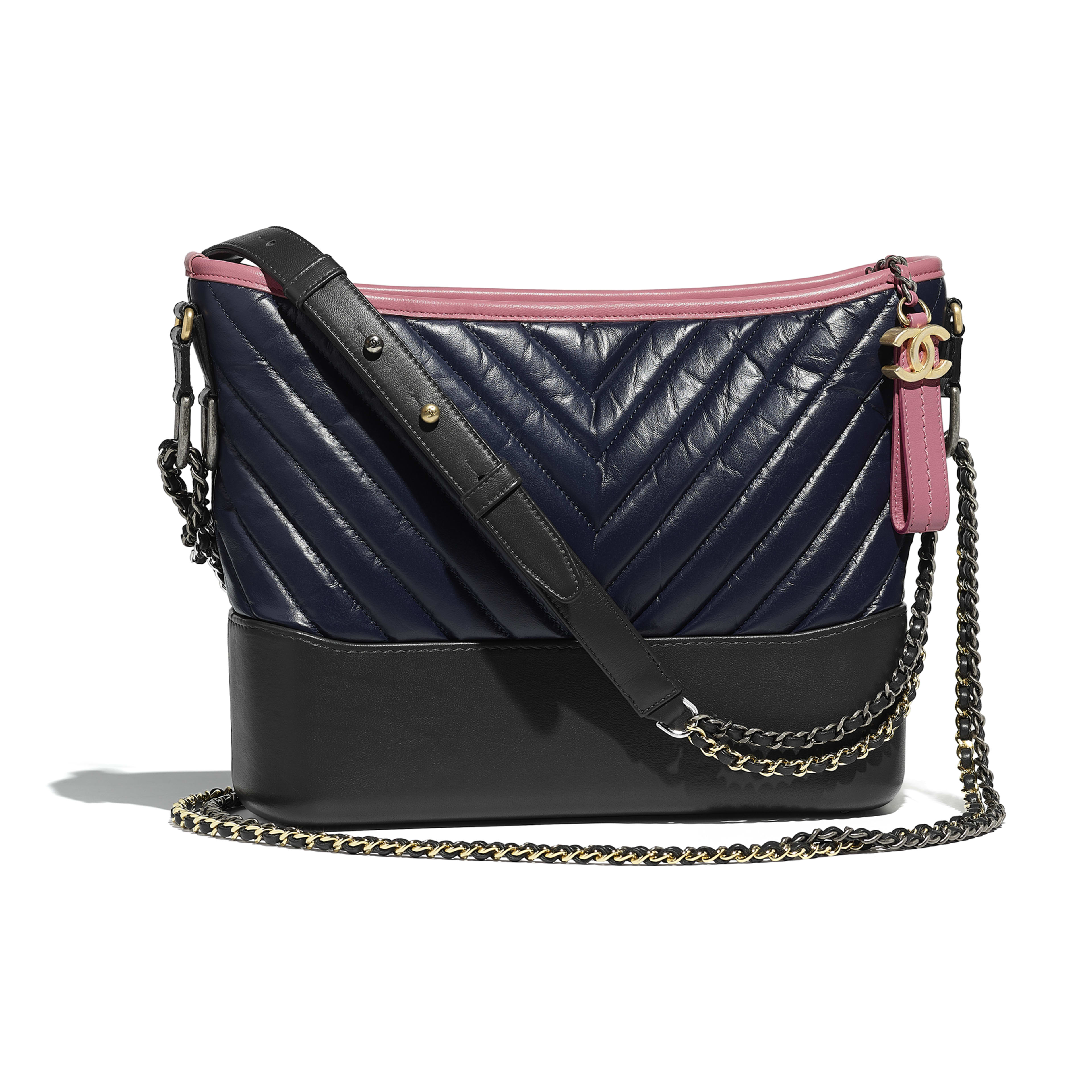 11163ed5eed4 Chanels gabrielle hobo bag navy blue charcoal pink aged calfskin jpg  3840x3840 Aged navy color code