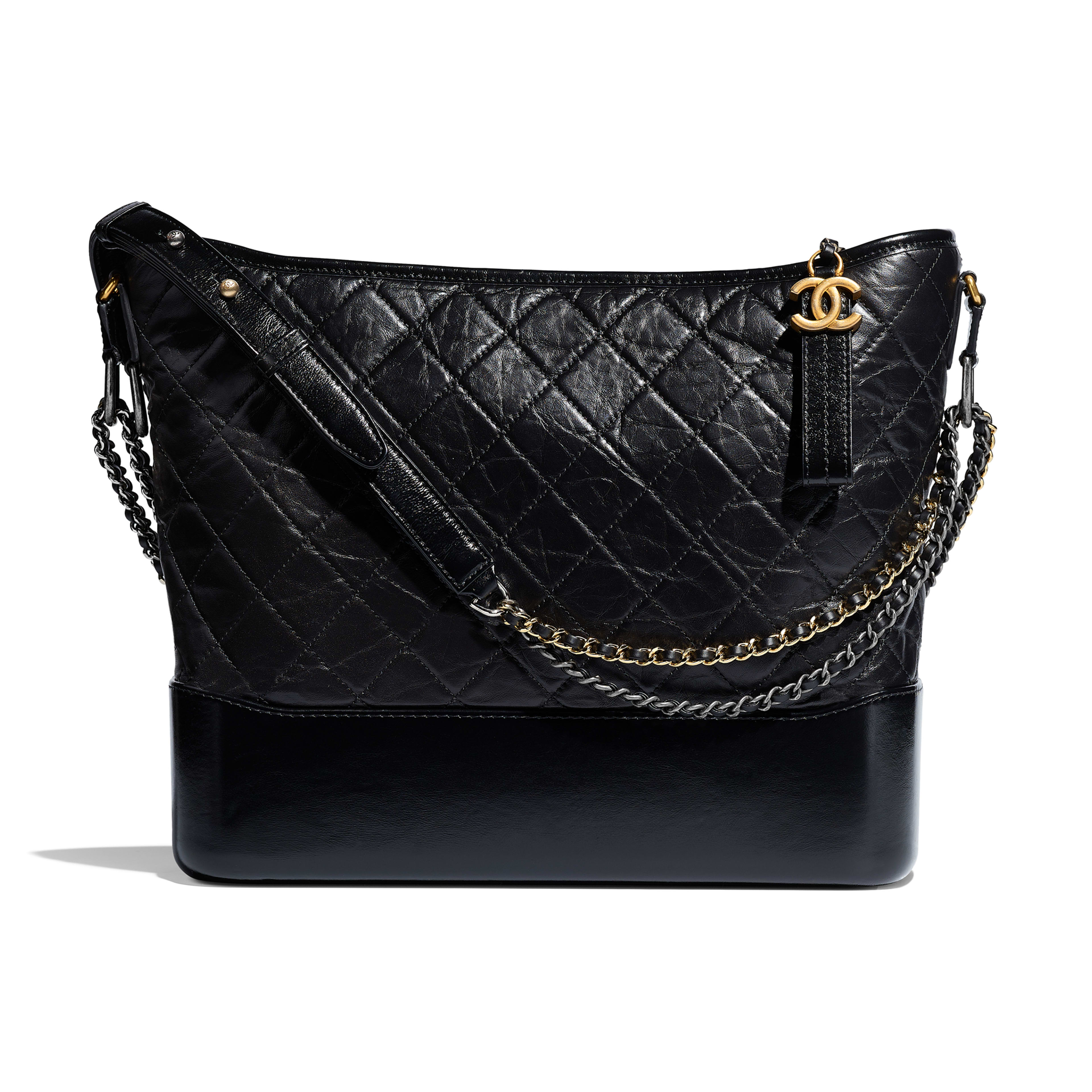 CHANEL'S GABRIELLE Large Hobo Bag - Black - Aged Calfskin, Smooth Calfskin, Silver-Tone & Gold-Tone Metal - Default view - see full sized version